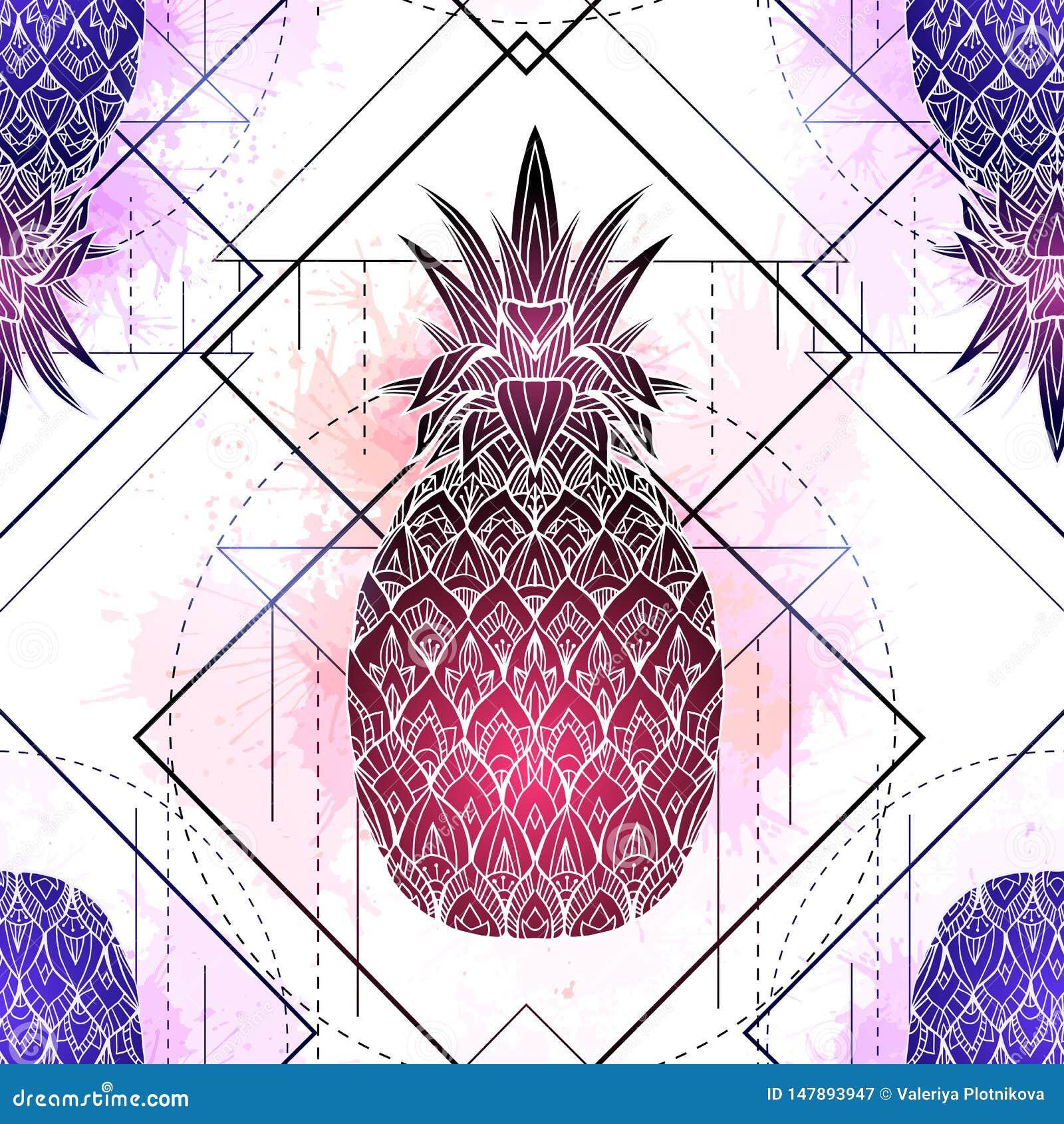 Άνευ ραφής σχέδιο με τη μυστική απεικόνιση των ανανάδων με ένα σχέδιο περιγράμματος και ρόδινους παφλασμούς watercolor Σύσταση με