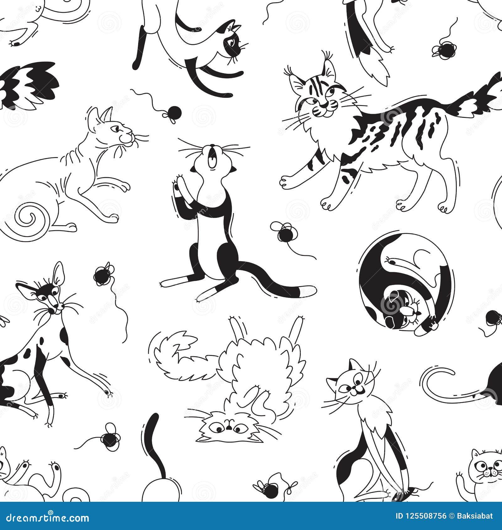 Άνευ ραφής σχέδιο με τις γάτες παιχνιδιού των διαφορετικών φυλών και τα νηματοδέματα του νήματος Γάτα στα κινούμενα σχέδια ύφους