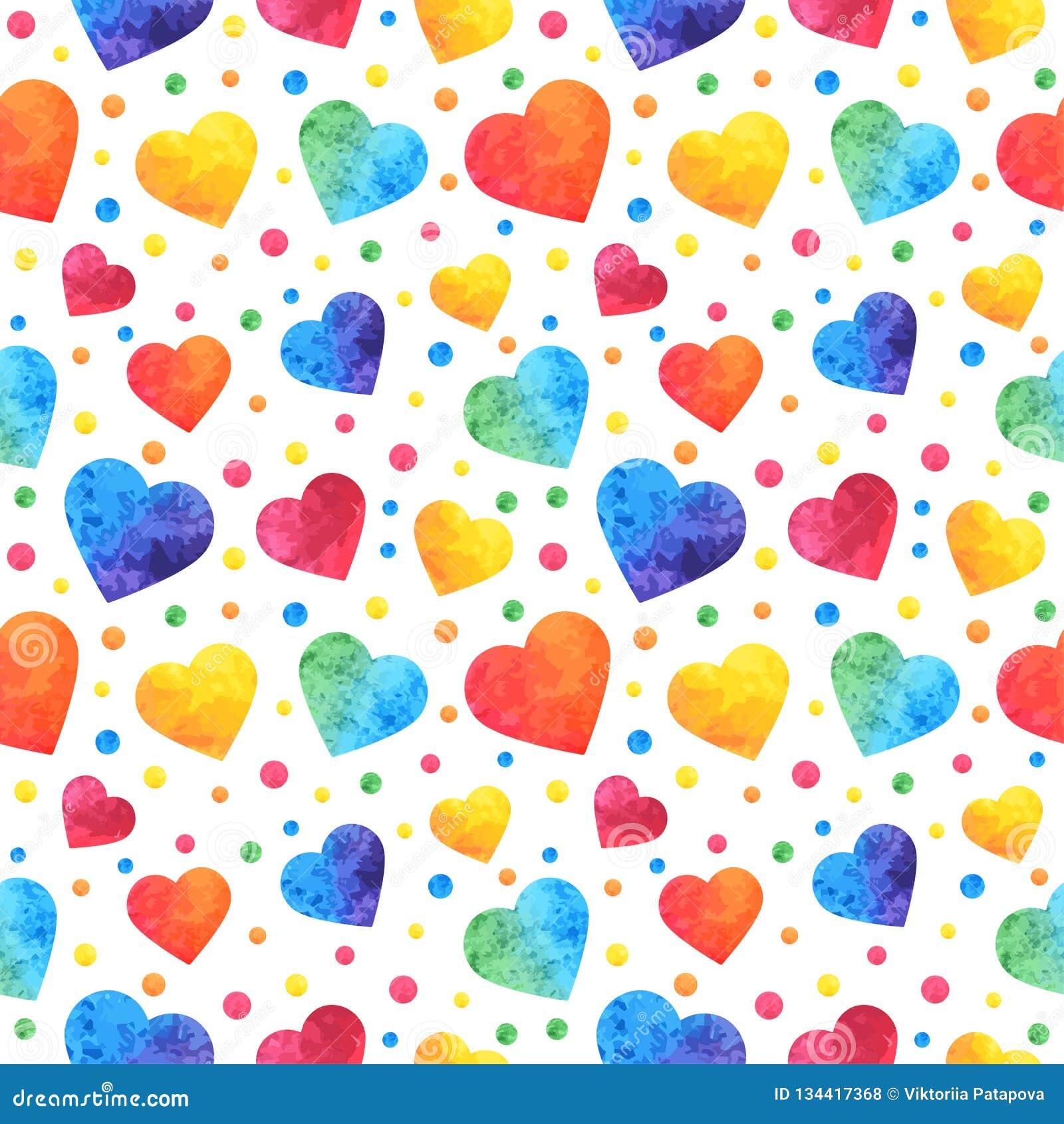 Άνευ ραφής σχέδιο με τις καρδιές watercolor, υπόβαθρο ημέρας βαλεντίνων, σύσταση, τύλιγμα eps10 να γεμίσει προτύπων λουλουδιών πο
