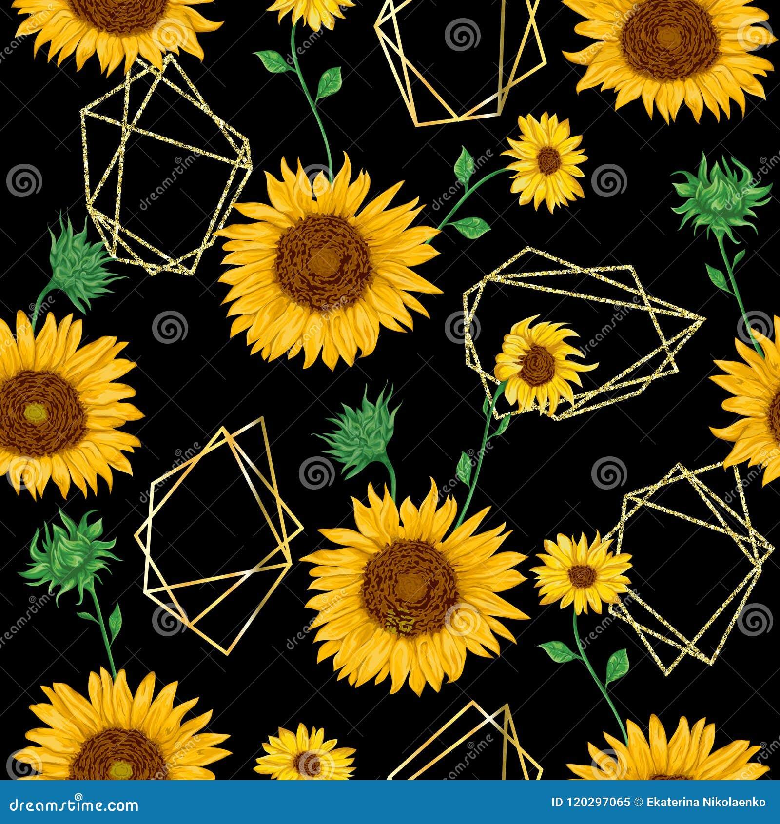 Άνευ ραφής σχέδιο με τις χρυσές polygonal μορφές και ηλίανθοι στο ύφος watercolor