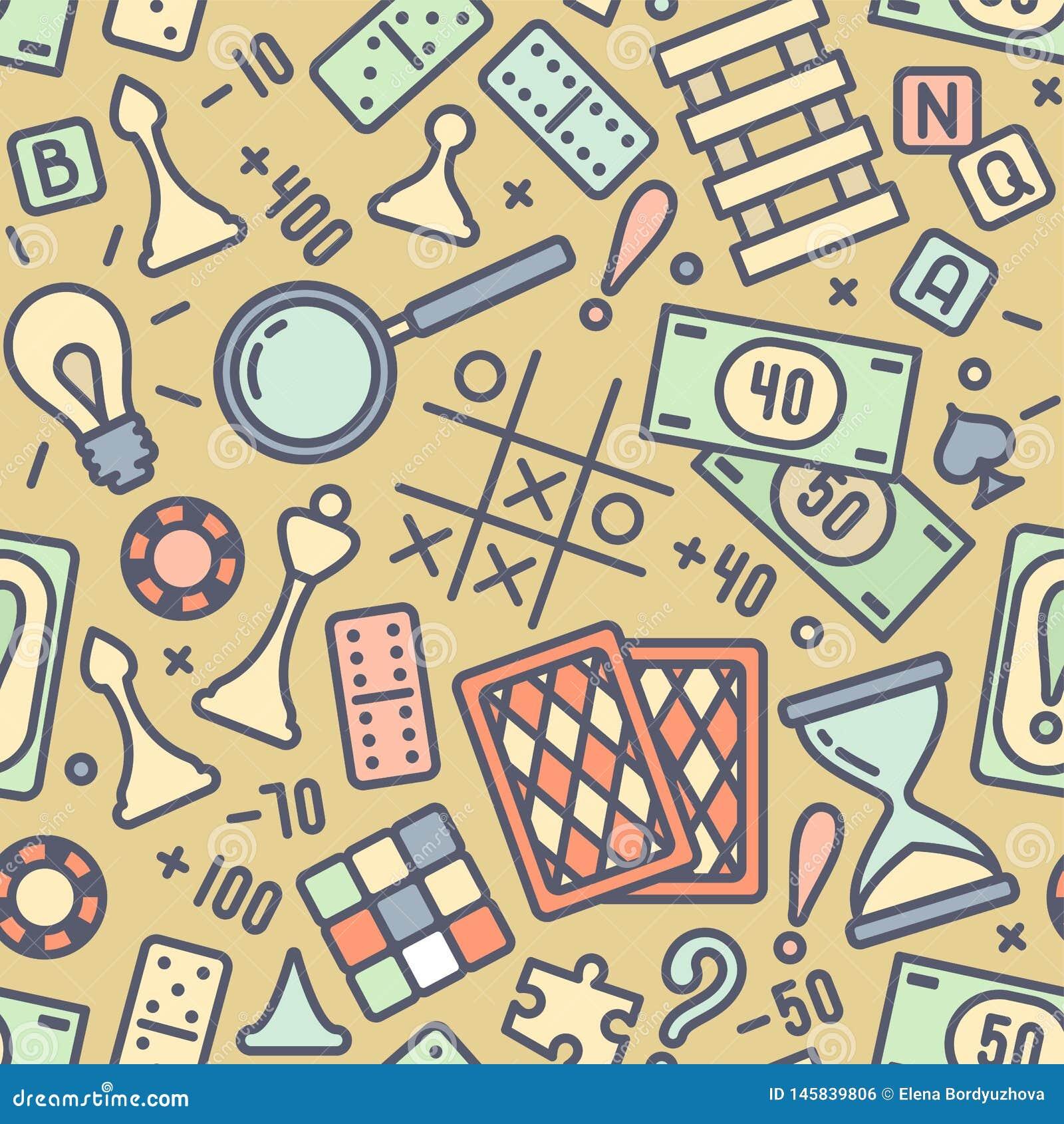 Άνευ ραφής σχέδιο με τις χρωματισμένες ιδιότητες επιτραπέζιων παιχνιδιών