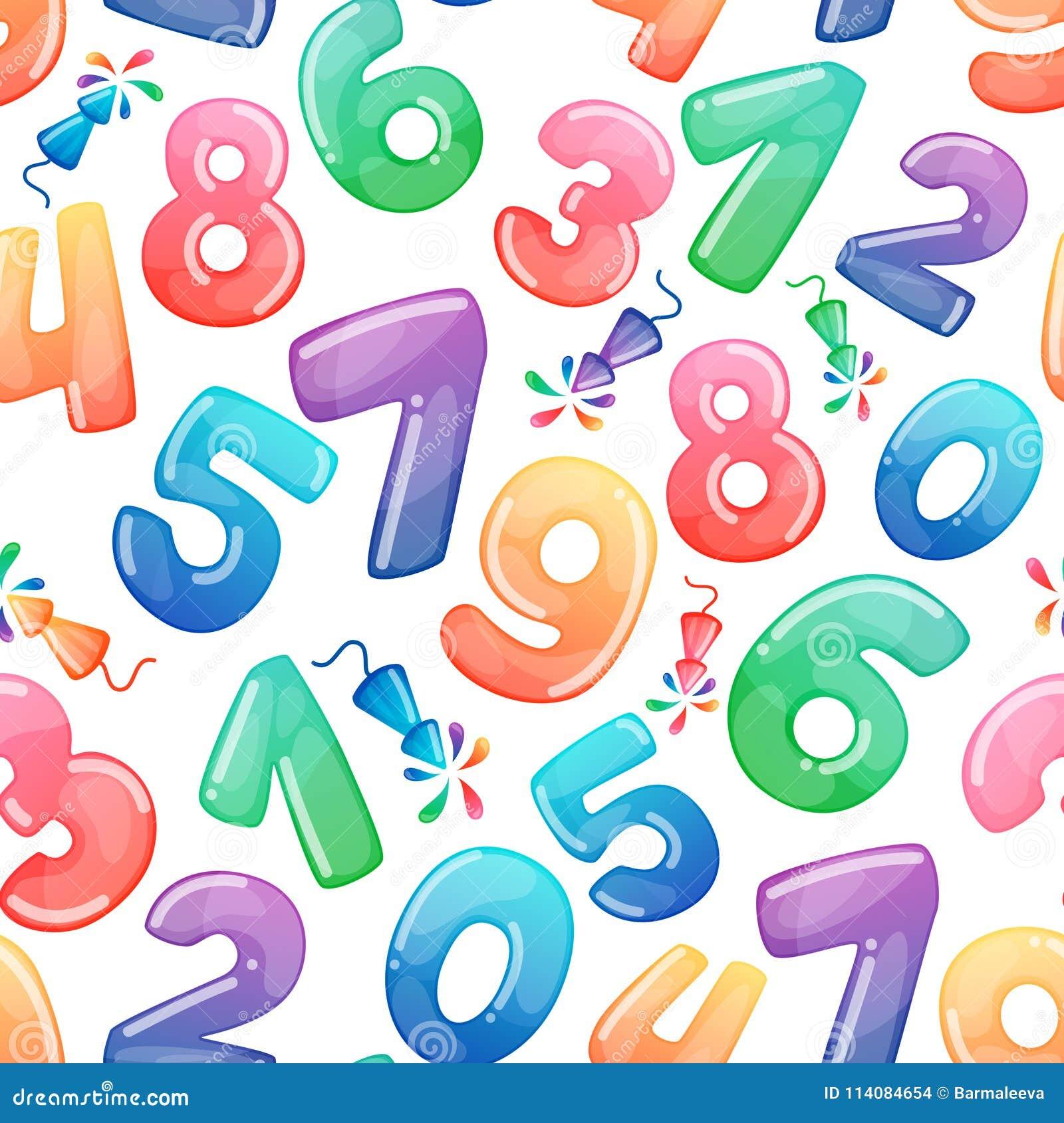 Άνευ ραφής σχέδιο με τους αριθμούς και τα πυροτεχνήματα κινούμενων σχεδίων Καραμέλα ουράνιων τόξων και στιλπνά αστεία σύμβολα κιν