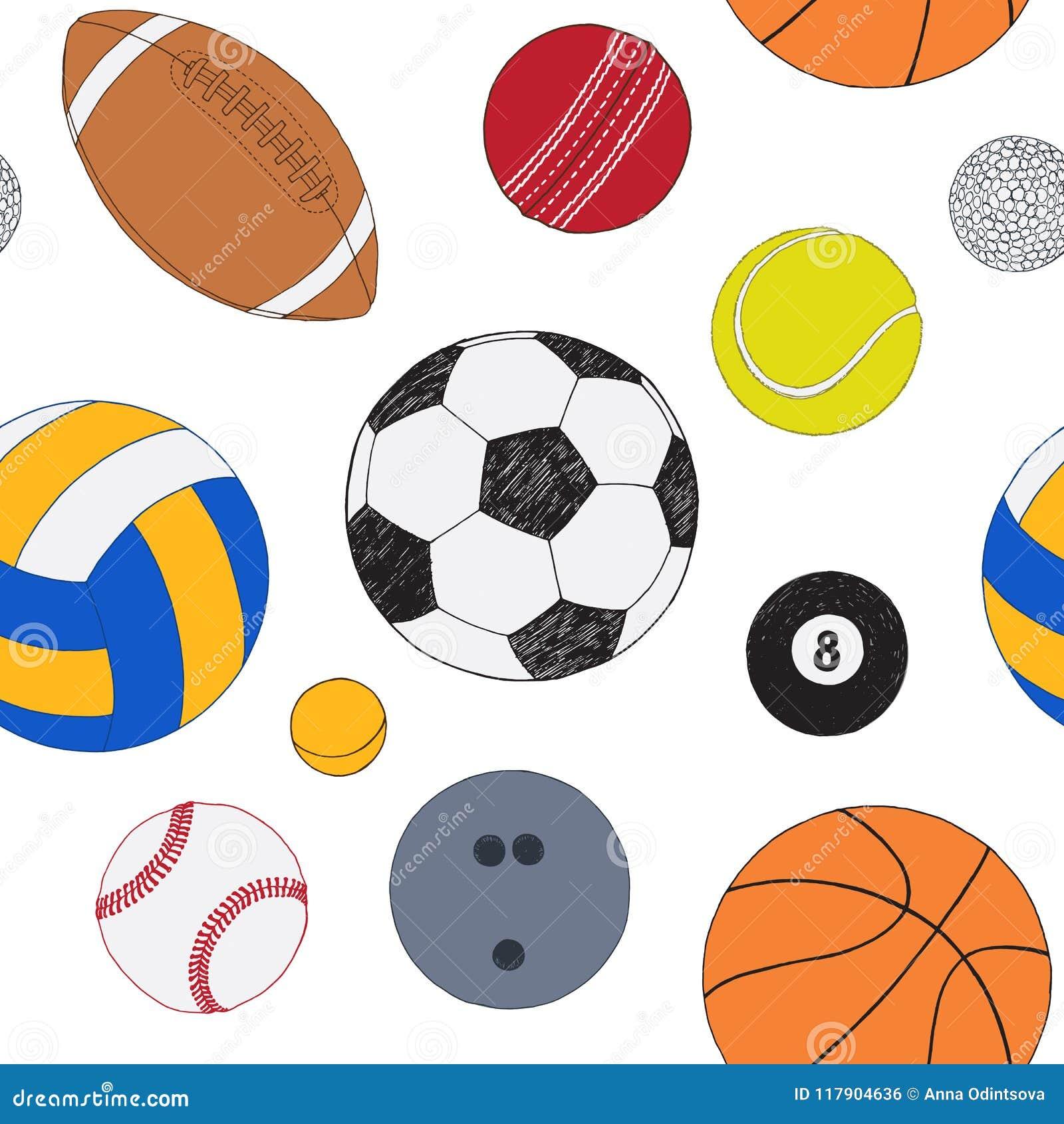 Άνευ ραφής σχέδιο με το σύνολο αθλητικών σφαιρών Συρμένο χέρι χρωματισμένο διανυσματικό σκίτσο Άσπρη ανασκόπηση Πρότυπο συμπεριλα