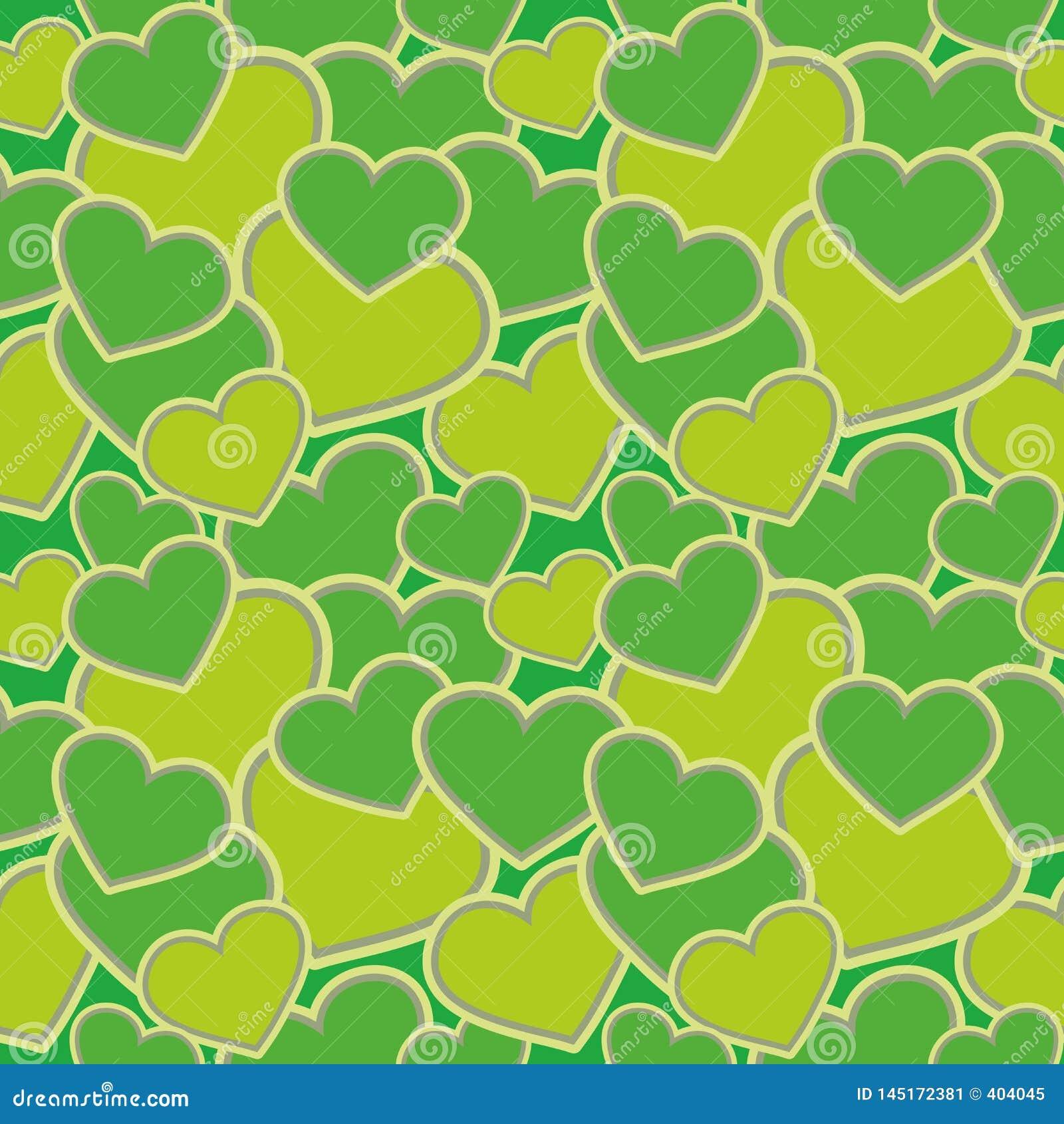 Άνευ ραφής σχέδιο - μορφές καρδιών, πράσινη κάλυψη για τα υφάσματα, τις