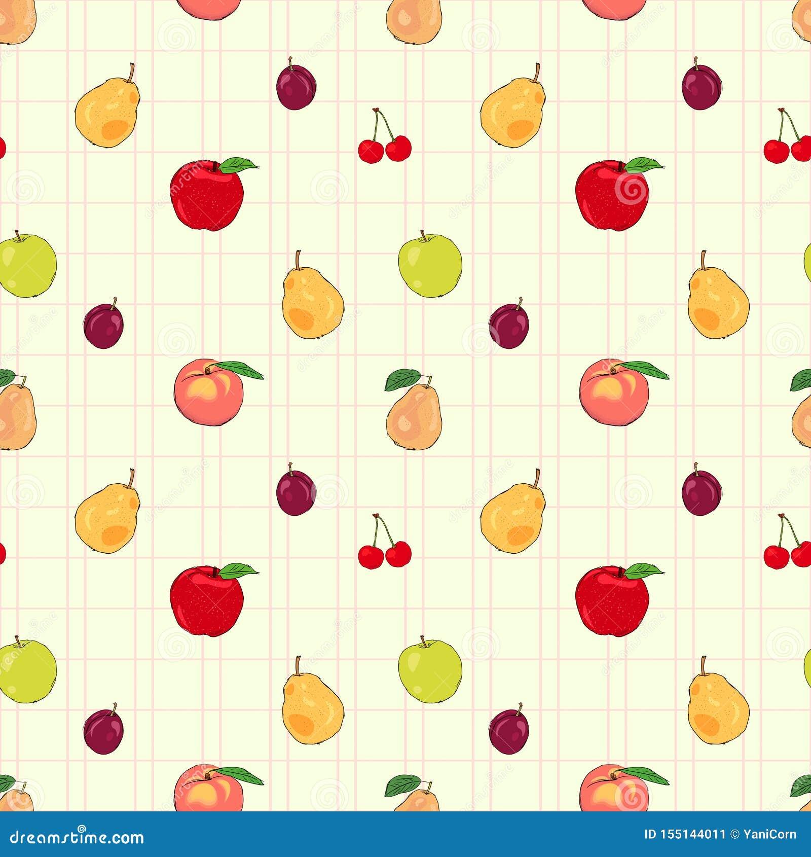 Άνευ ραφής σχέδιο νωπών καρπών με τα μήλα και τα αχλάδια