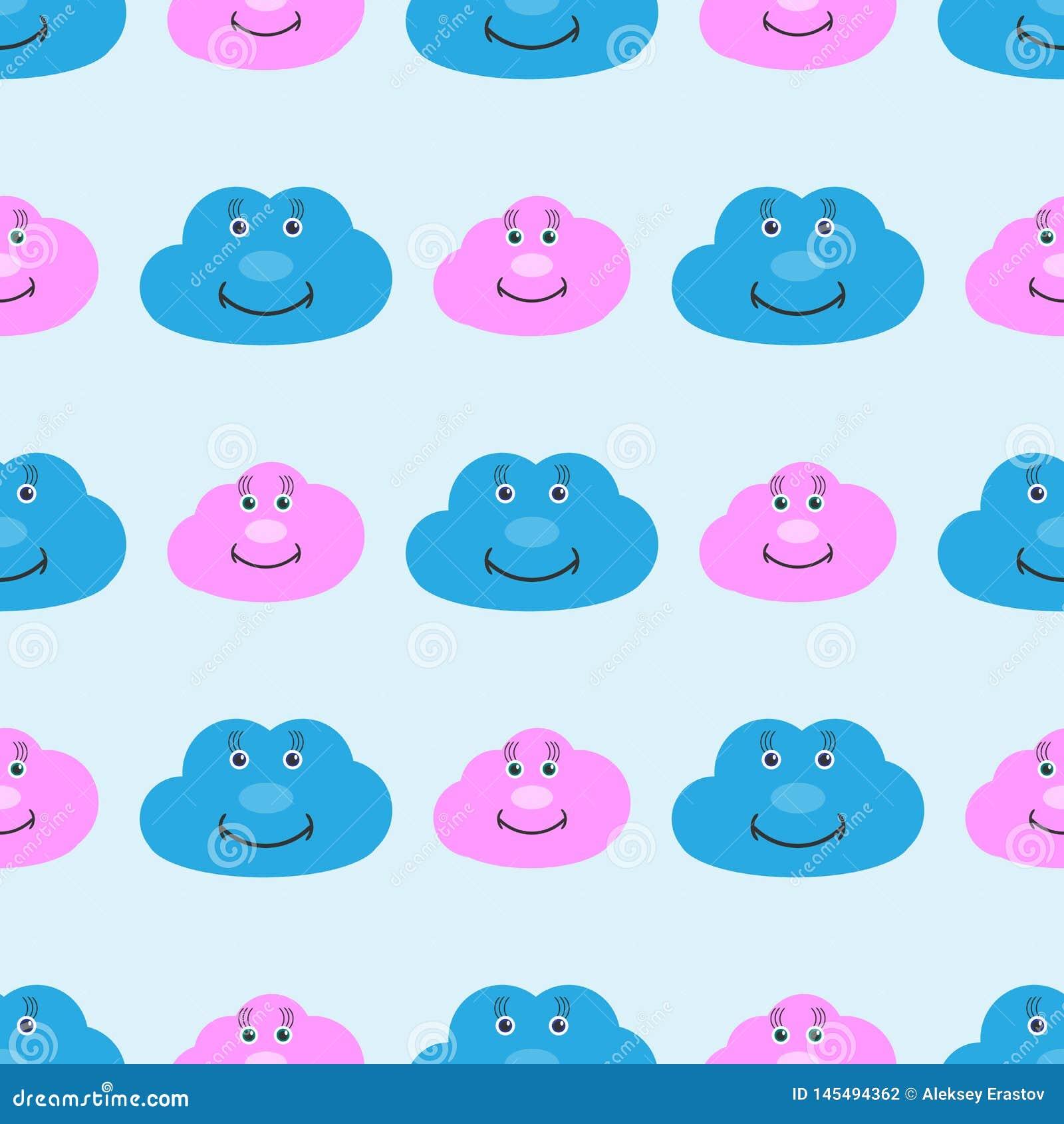 Άνευ ραφής σχέδιο παιδιών με τα χαριτωμένα σύννεφα χαμόγελου Αστεία τυπωμένη ύλη για τα παιδιά r
