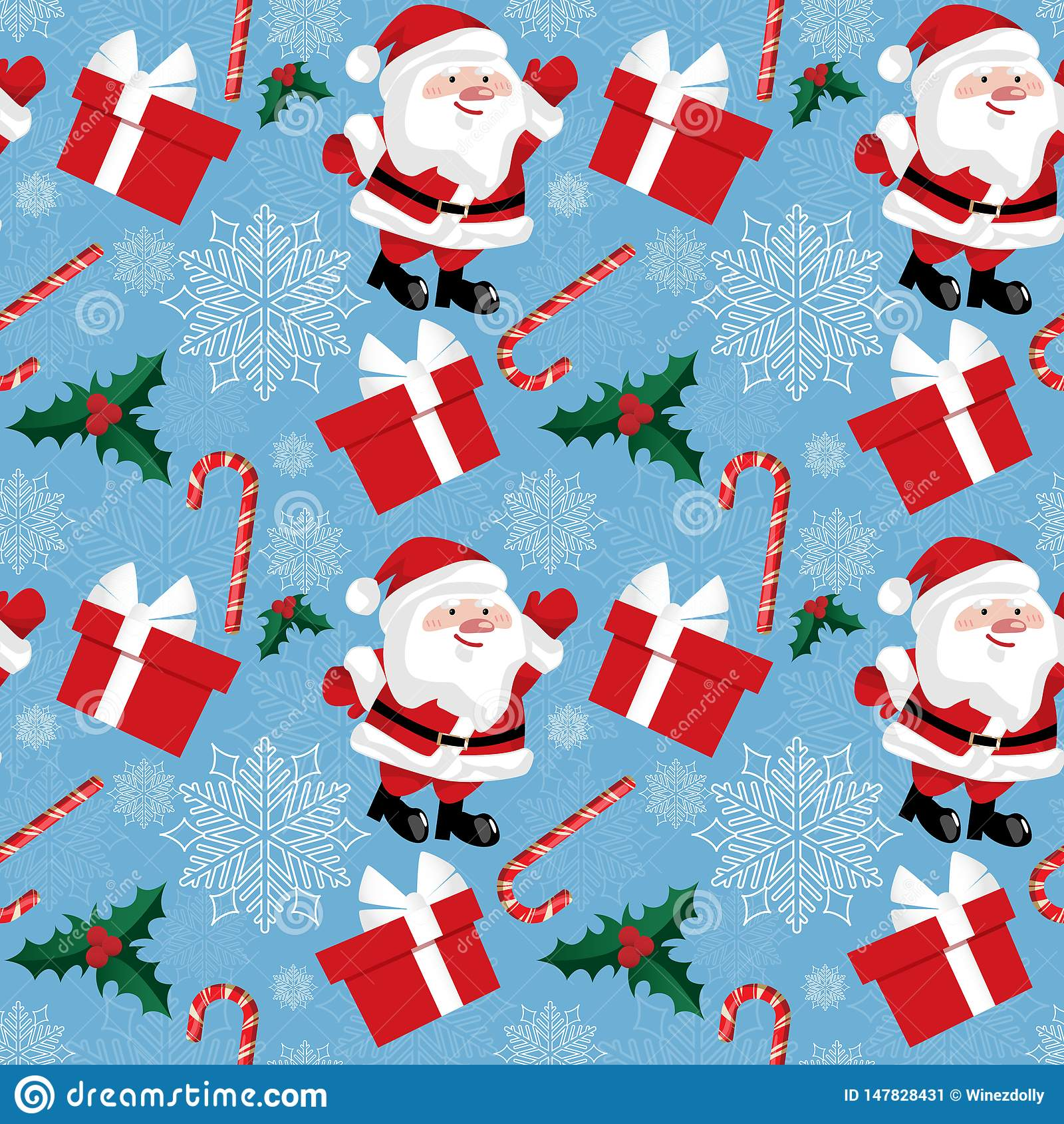 Άνευ ραφής σχέδιο περιόδου διακοπών Χριστουγέννων με Άγιο Βασίλη με τη νιφάδα χιονιού, τους καλάμους καραμελών, τα μούρα ελαιόπρι