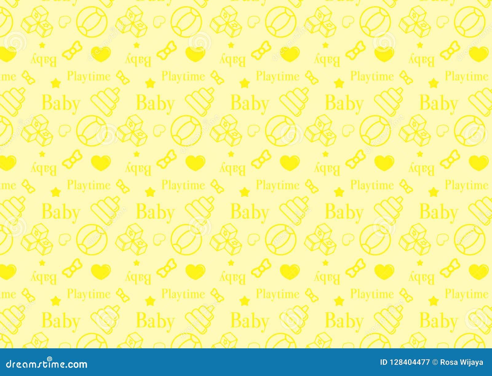 Άνευ ραφής σχέδιο στο εικονίδιο ύφους γραμμών με διάνυσμα θέματος παιχνιδιών μωρών το editable resizable πλήρως στο μαλακό κίτριν