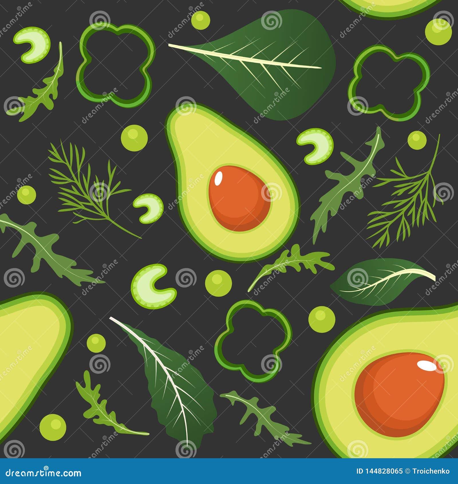 Άνευ ραφής σχέδιο στο σκοτεινό υπόβαθρο με τα πράσινα λαχανικά Αβοκάντο, πάπρικα, πράσινα μπιζέλια, σέλινο, σπανάκι, arugula και