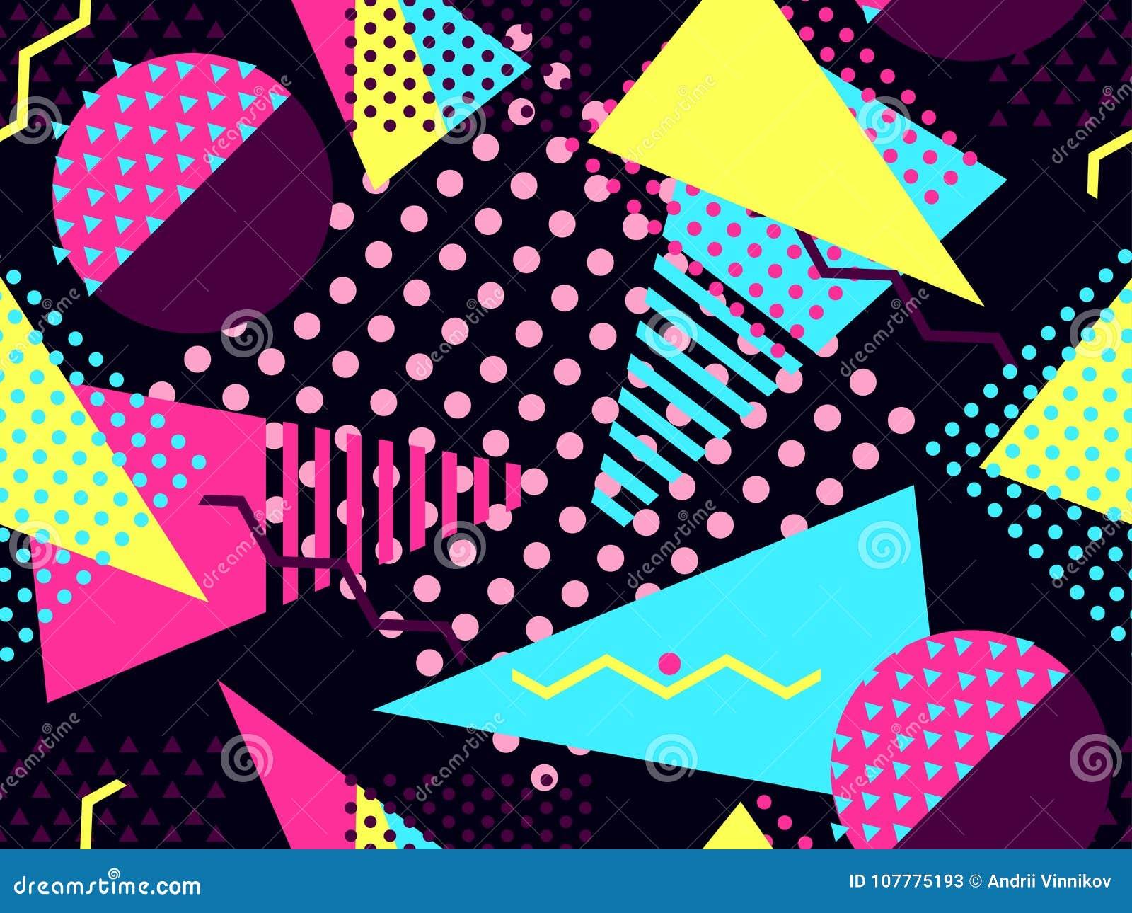 Άνευ ραφής σχέδιο της Μέμφιδας Γεωμετρικά στοιχεία Μέμφιδα στο ύφος 80 ` s Bauhaus αναδρομικό διάνυσμα