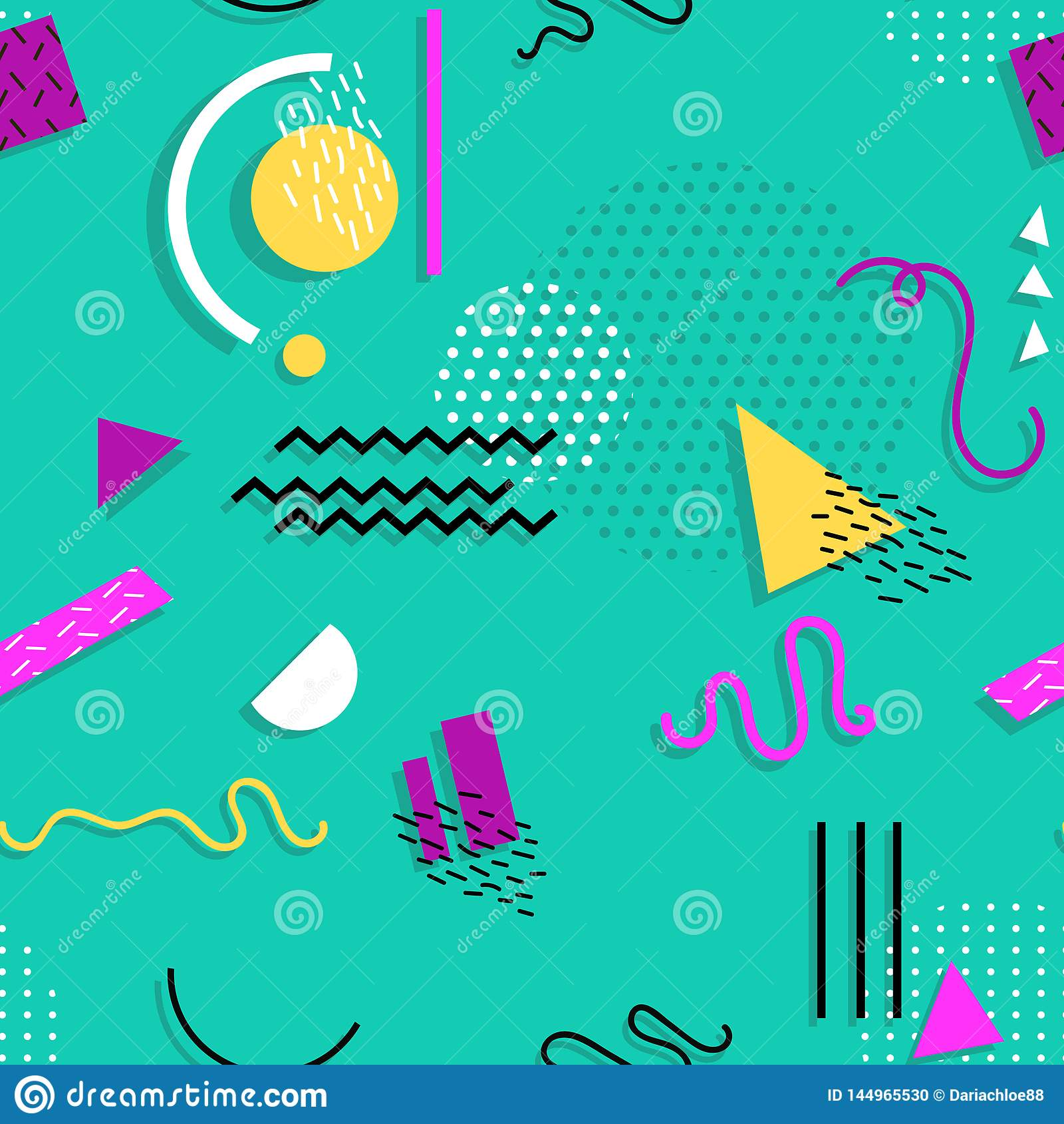 Άνευ ραφής σχέδιο της Μέμφιδας των γεωμετρικών μορφών για τον ιστό και τις κάρτες