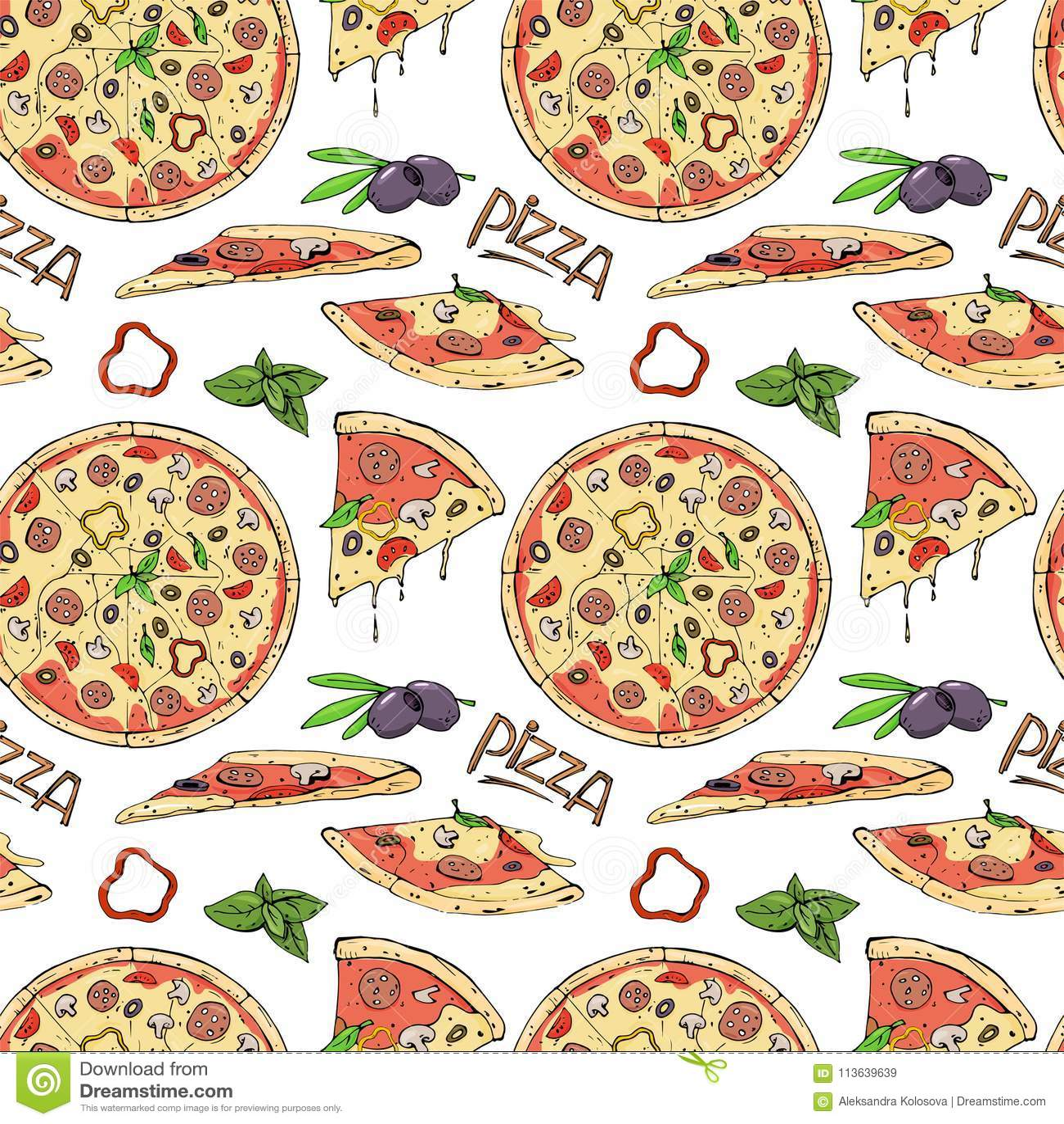 Άνευ ραφής σχέδιο της πίτσας και των συστατικών στο άσπρο υπόβαθρο