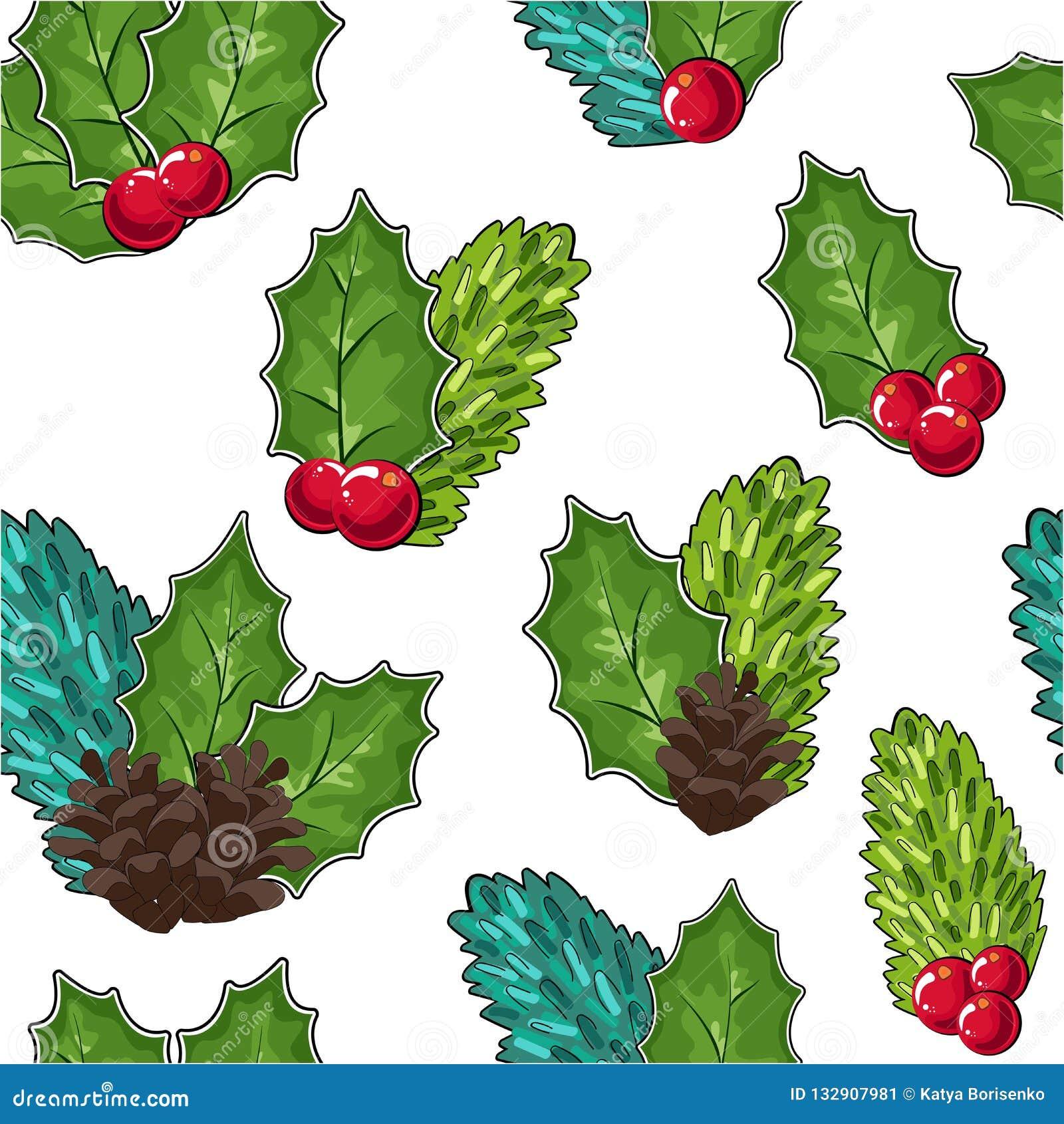 Άνευ ραφής σχέδιο των των βακκίνιων, των κώνων και των κλάδων και των μούρων έλατου Cowberry διανυσματική απεικόνιση Doodle στο κ