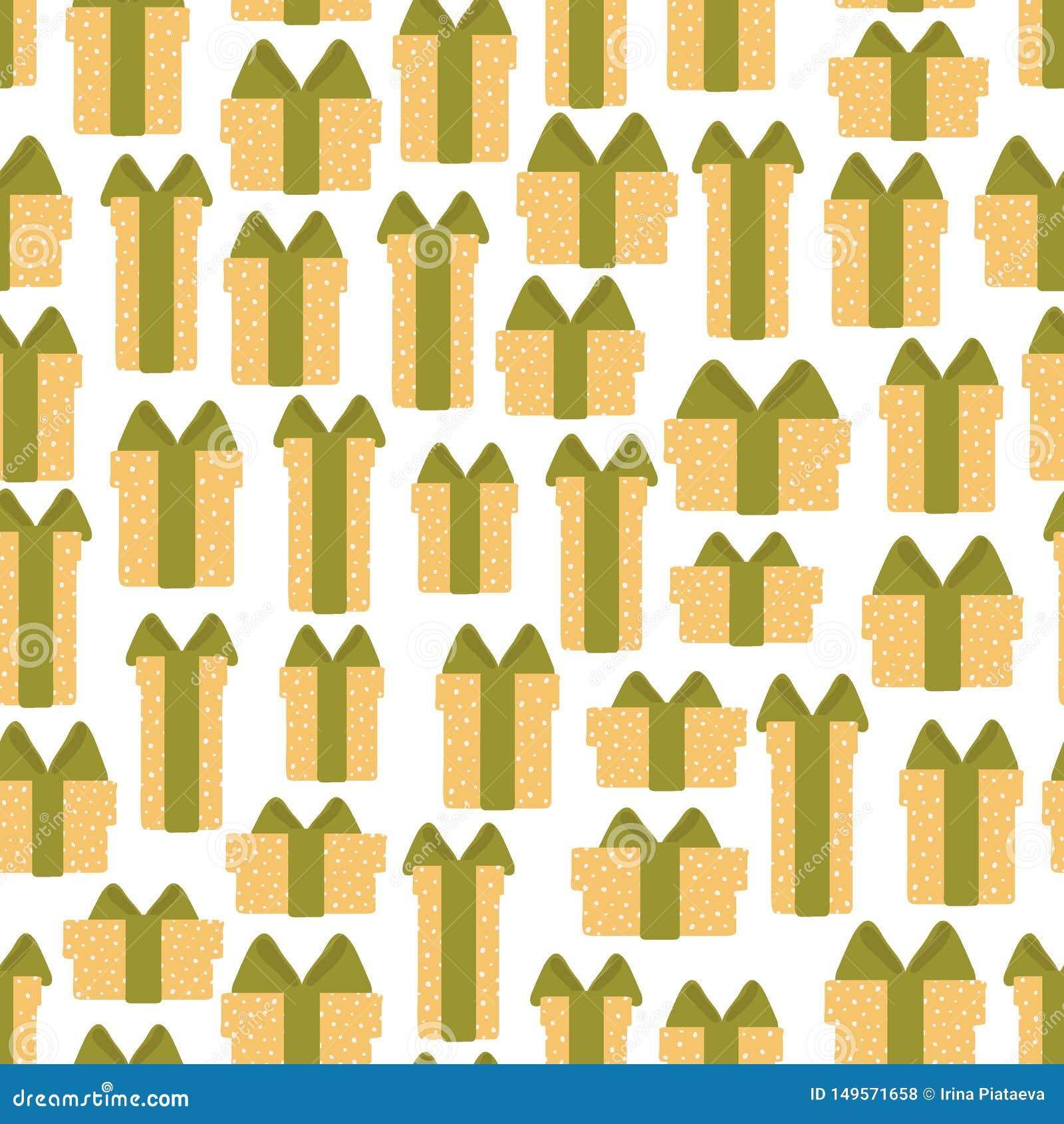 Άνευ ραφής σχέδιο των κιβωτίων δώρων σε ένα άσπρο υπόβαθρο Διανυσματική απεικόνιση στα κινούμενα σχέδια