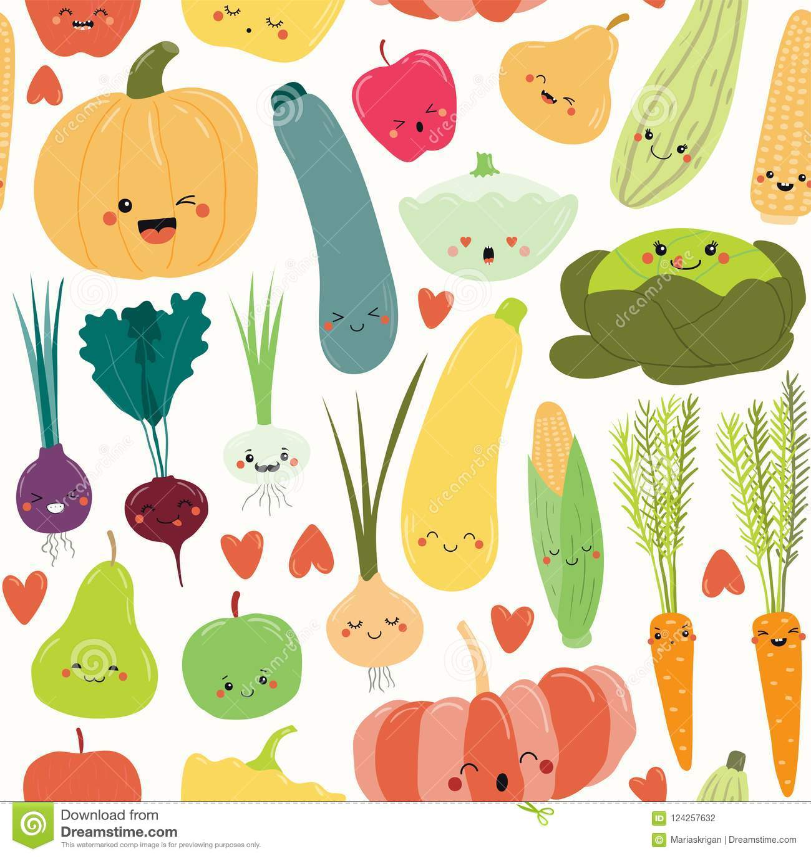 Άνευ ραφής σχέδιο φρούτων και λαχανικών Kawaii