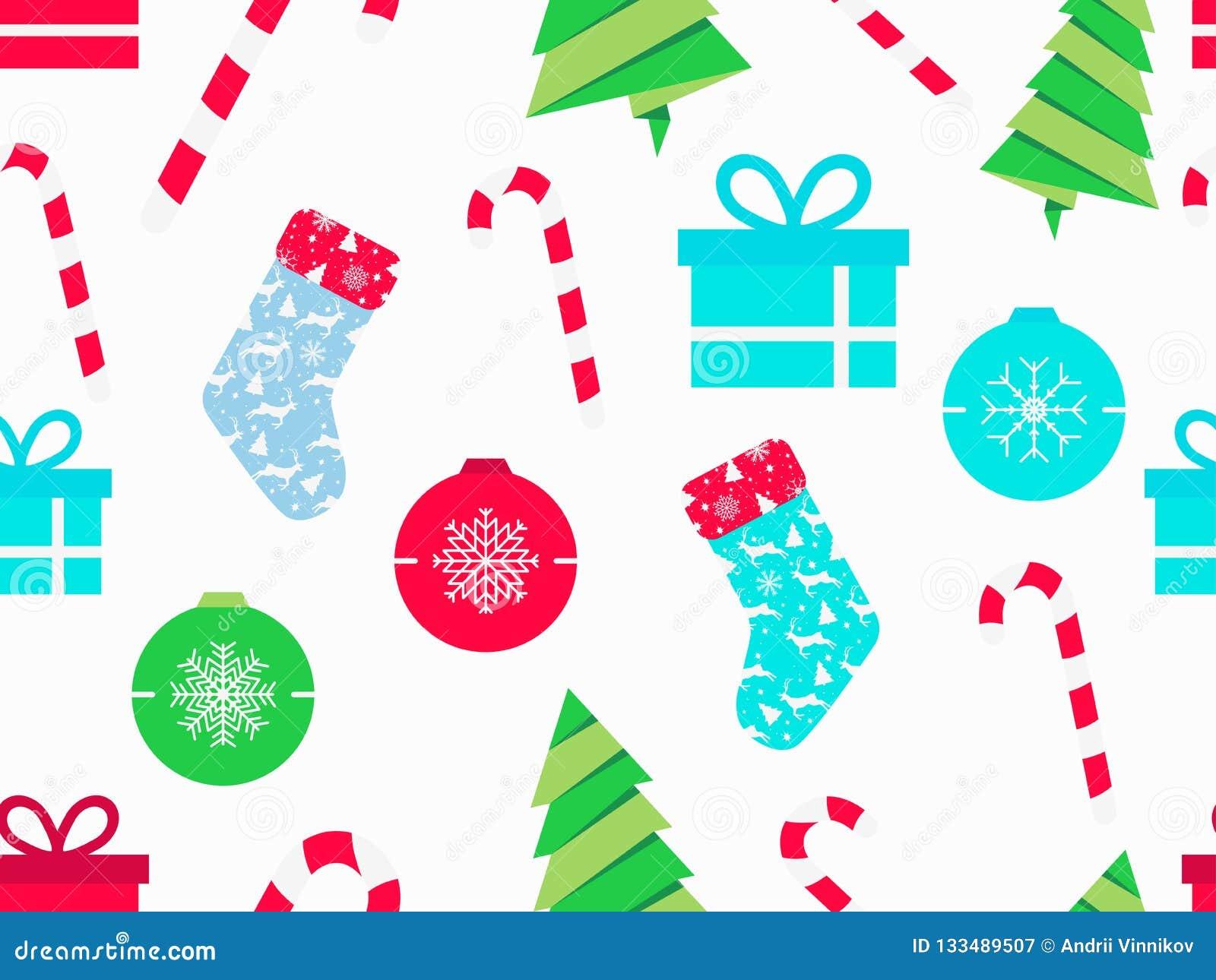 Άνευ ραφής σχέδιο Χριστουγέννων με τους καλάμους καραμελών, τις κάλτσες Χριστουγέννων, τα κιβώτια δώρων και το δέντρο έλατου Σύμβ