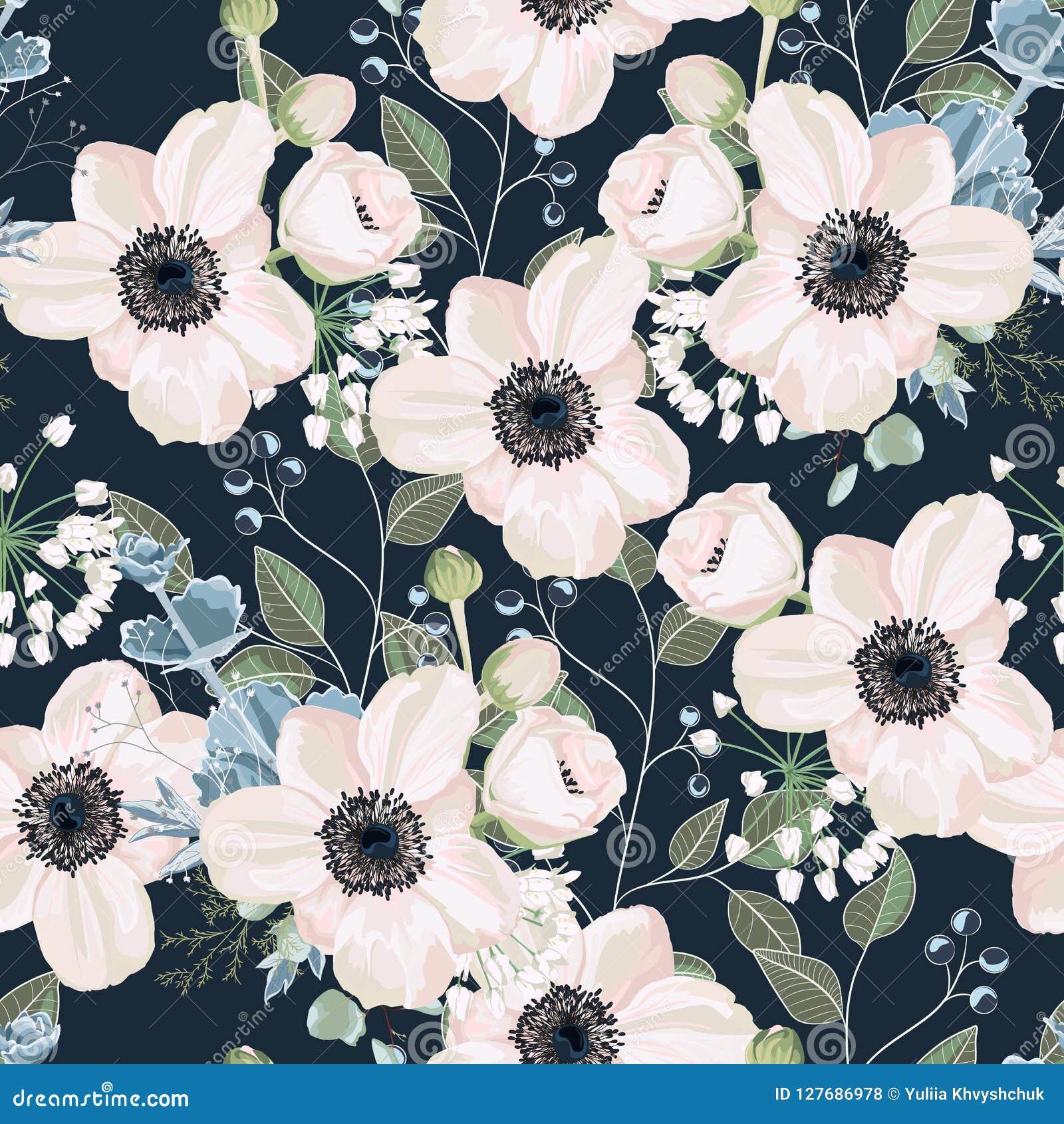 Άνευ ραφής σχέδιο ύφους watercolor σχεδίων διανυσματικό floral: λουλούδι Anemone σκονών κήπων