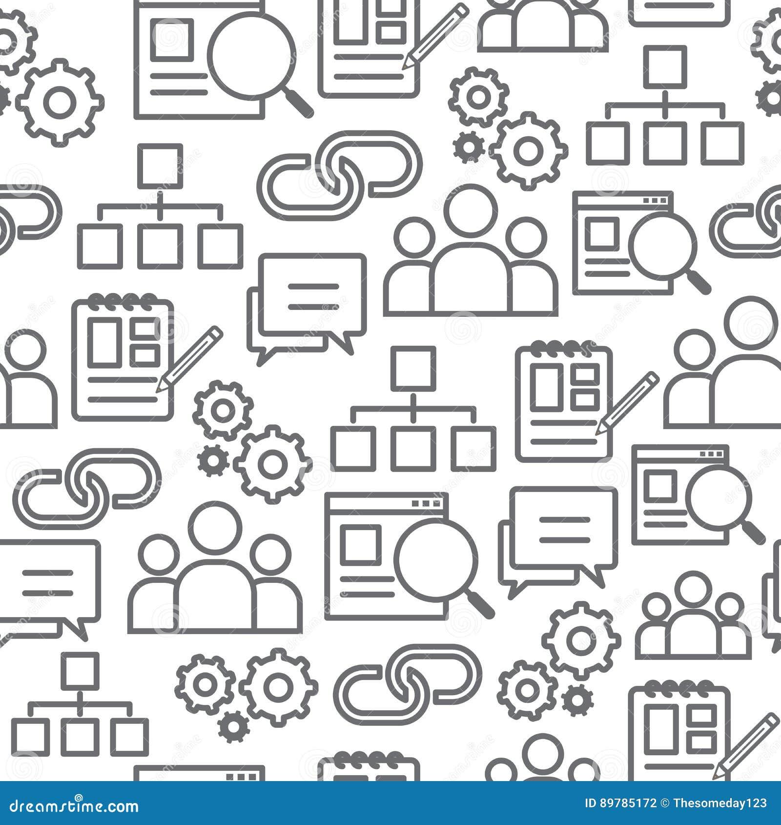 Άνευ ραφής σχέδιο εικονιδίων γραμμών, βελτιστοποίηση μηχανών αναζήτησης