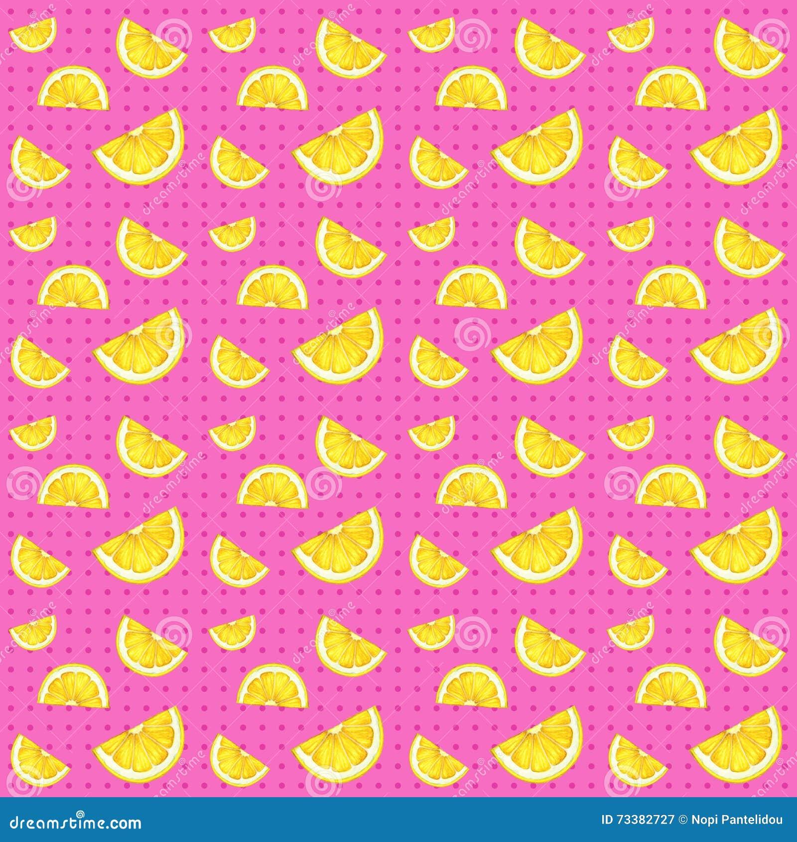 Άνευ ραφής σχέδιο λεμονιών και ρόδινο υπόβαθρο