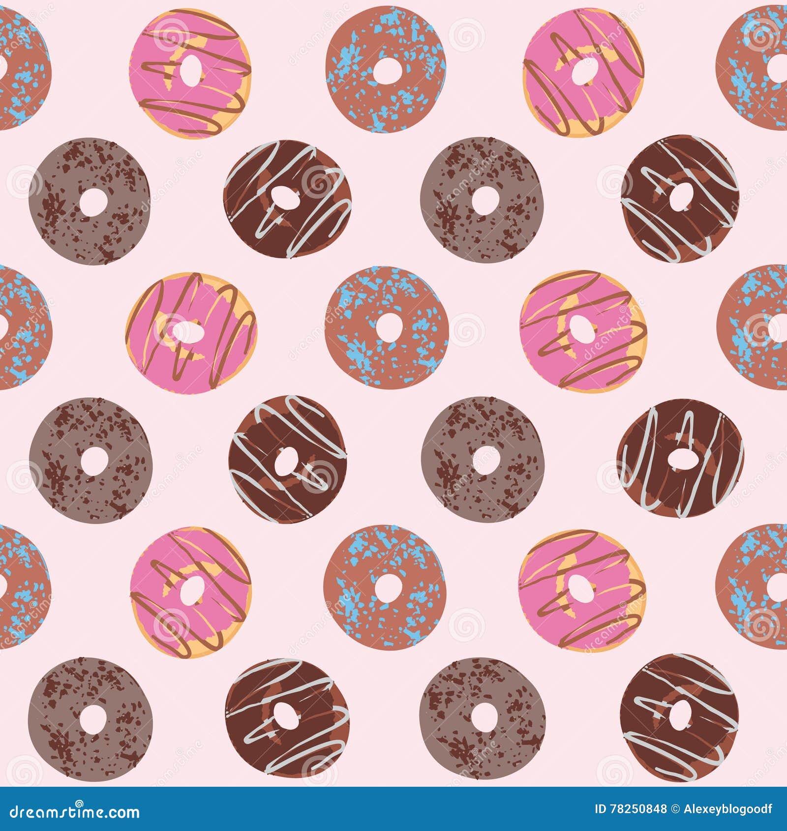 Άνευ ραφής σχέδιο με βερνικωμένος donuts Σοκολάτα και ρόδινα χρώματα