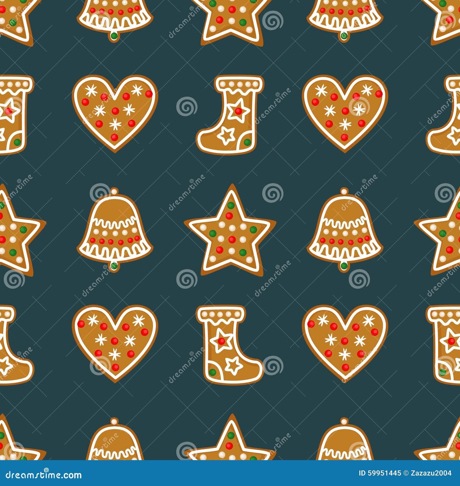Άνευ ραφής σχέδιο με τα μπισκότα μελοψωμάτων Χριστουγέννων - κουδούνι db7f28a8e93