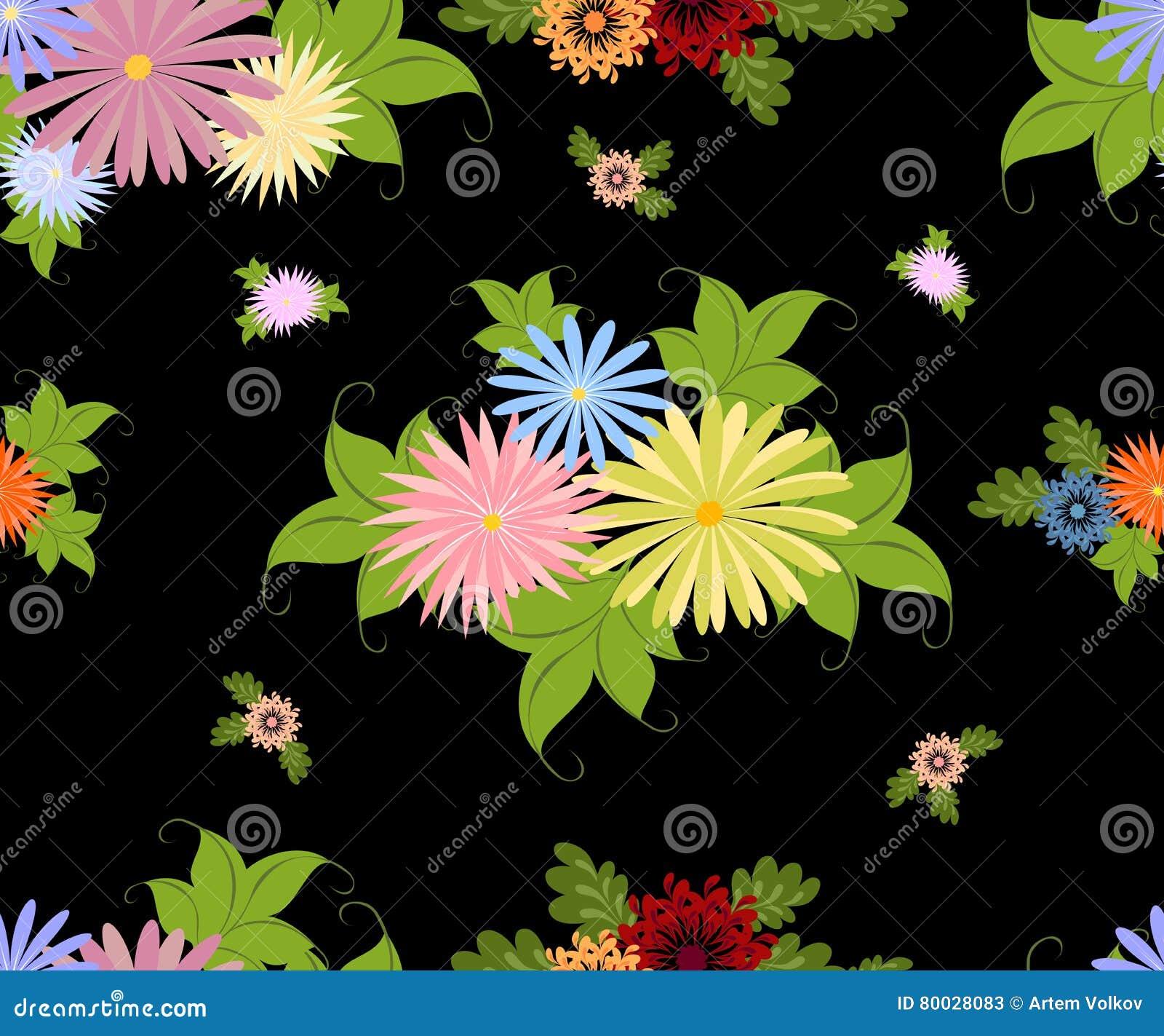 Άνευ ραφής σχέδιο με τα φωτεινά πολύχρωμα λουλούδια σε ένα ομοιογενές μαύρο υπόβαθρο EPS10 διανυσματική απεικόνιση