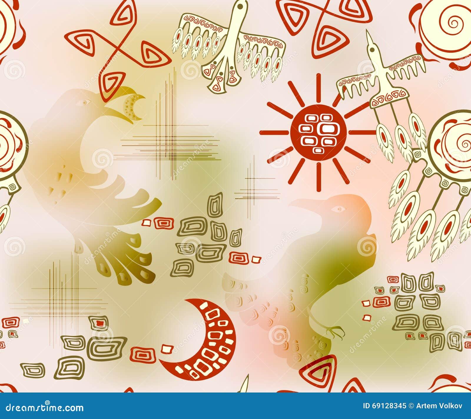 Άνευ ραφής σχέδιο με τον εθνικούς ινδικούς ήλιο και τον ουρανό συμβόλων EPS10 διανυσματική απεικόνιση
