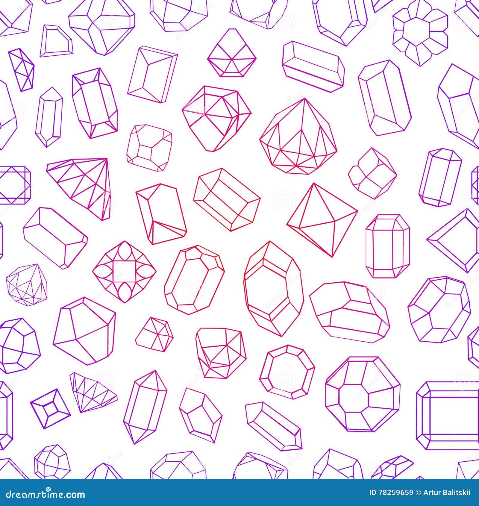 Άνευ ραφής σχέδιο με το διαμάντι πολύτιμοι λίθοι, και πέτρες σε πολλές παραλλαγές
