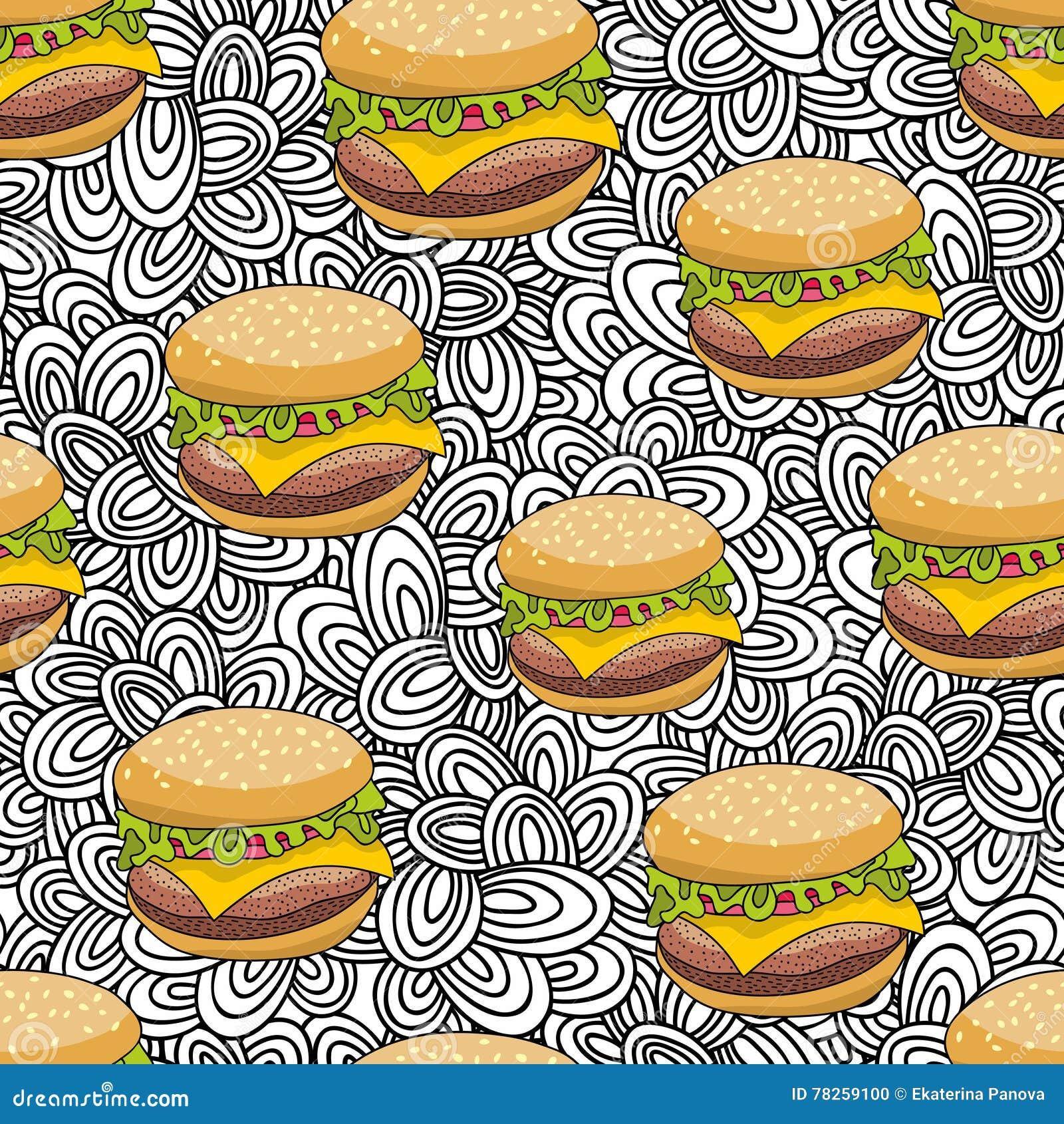 Άνευ ραφής σχέδιο με το χάμπουργκερ doodle στο καλλιτεχνικό υπόβαθρο