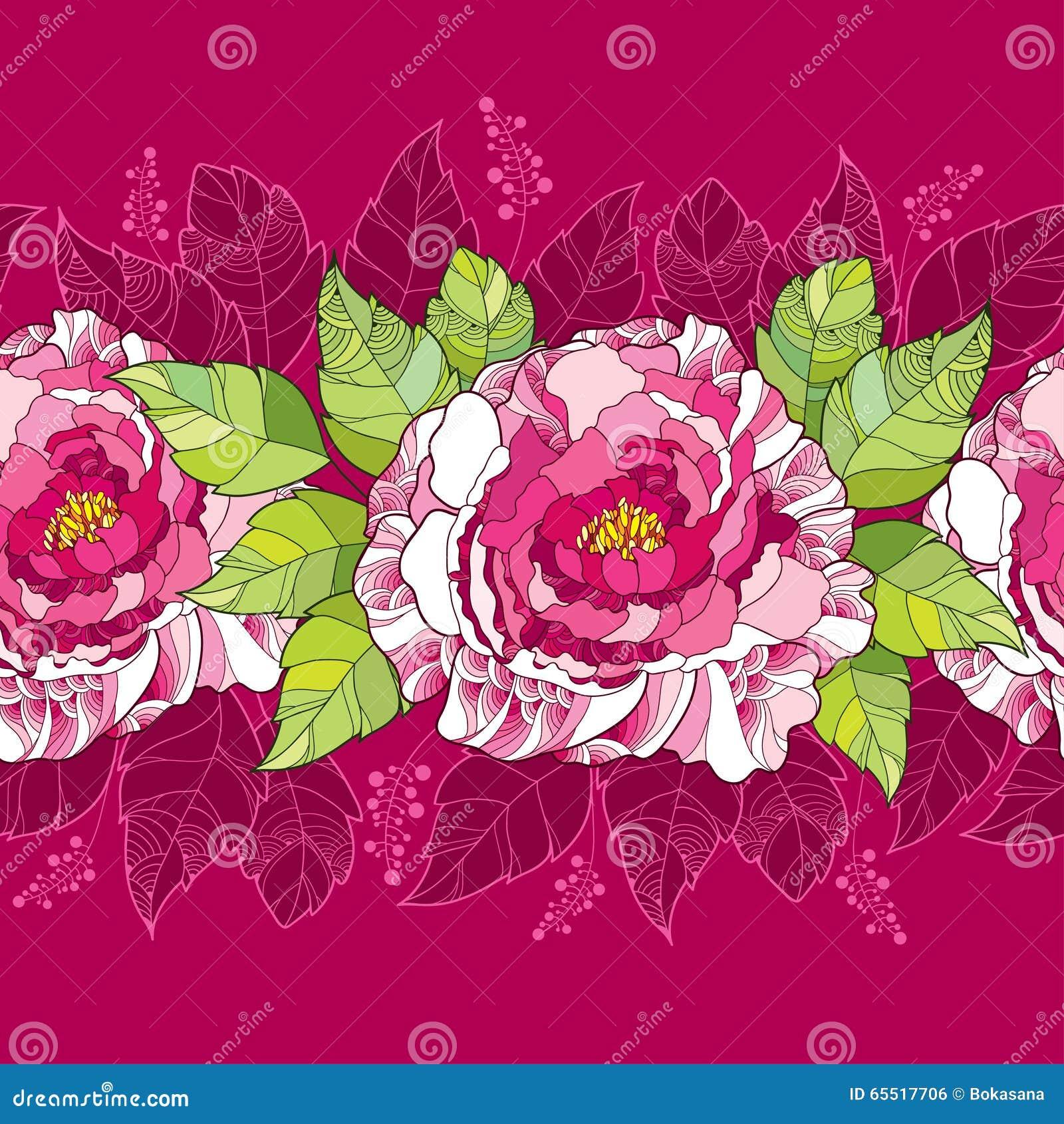 Άνευ ραφής σχέδιο με το peony λουλούδι στα ρόδινα και πράσινα φύλλα στο σκοτεινό υπόβαθρο