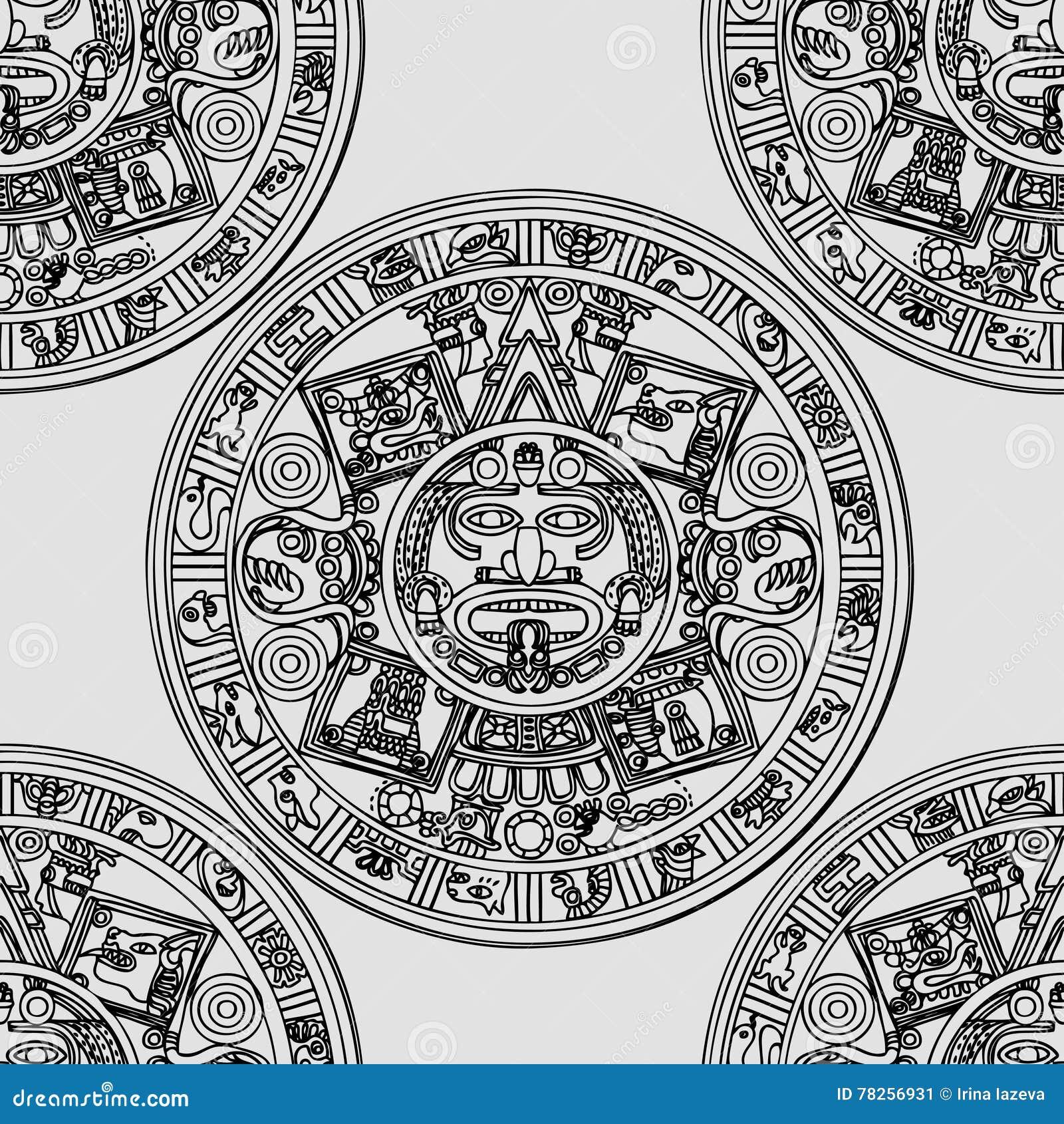 Άνευ ραφής σχέδιο με των Μάγια zodiac