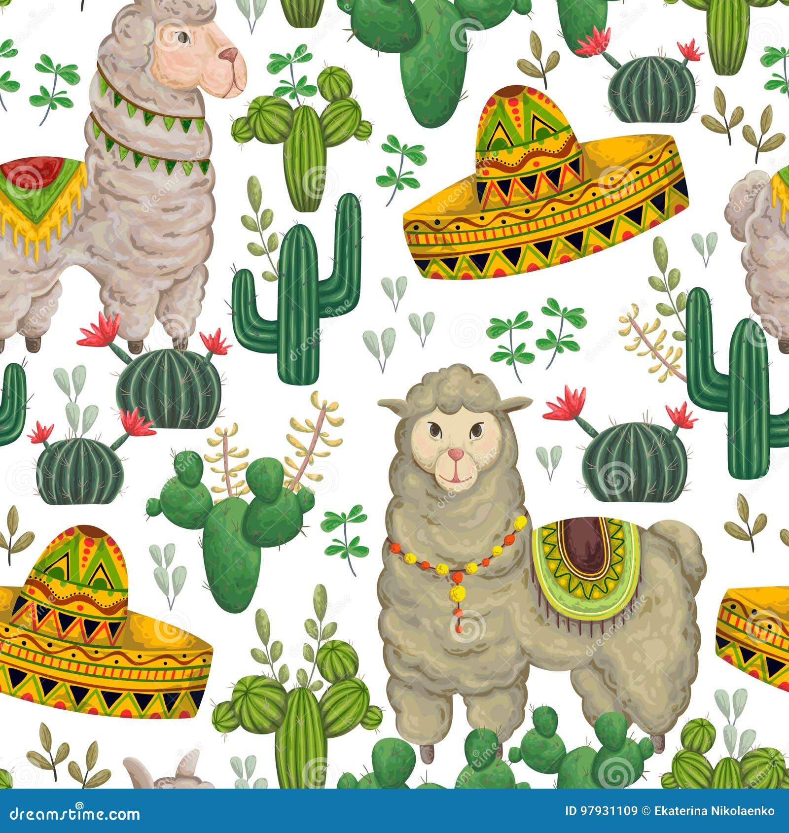 Άνευ ραφής σχέδιο με llama το ζώο, το σομπρέρο, τους κάκτους και τα floral στοιχεία