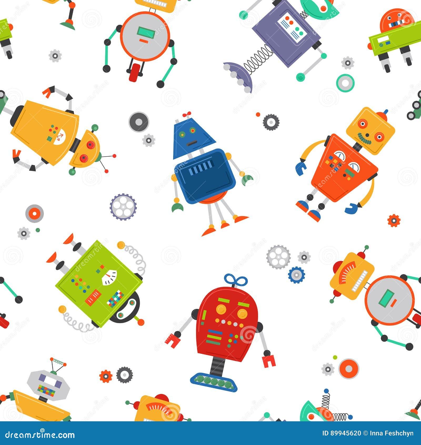 Άνευ ραφής σχέδιο ρομπότ Υπόβαθρο robo παιδιών Χαριτωμένο σχέδιο παιδιών χρώματος