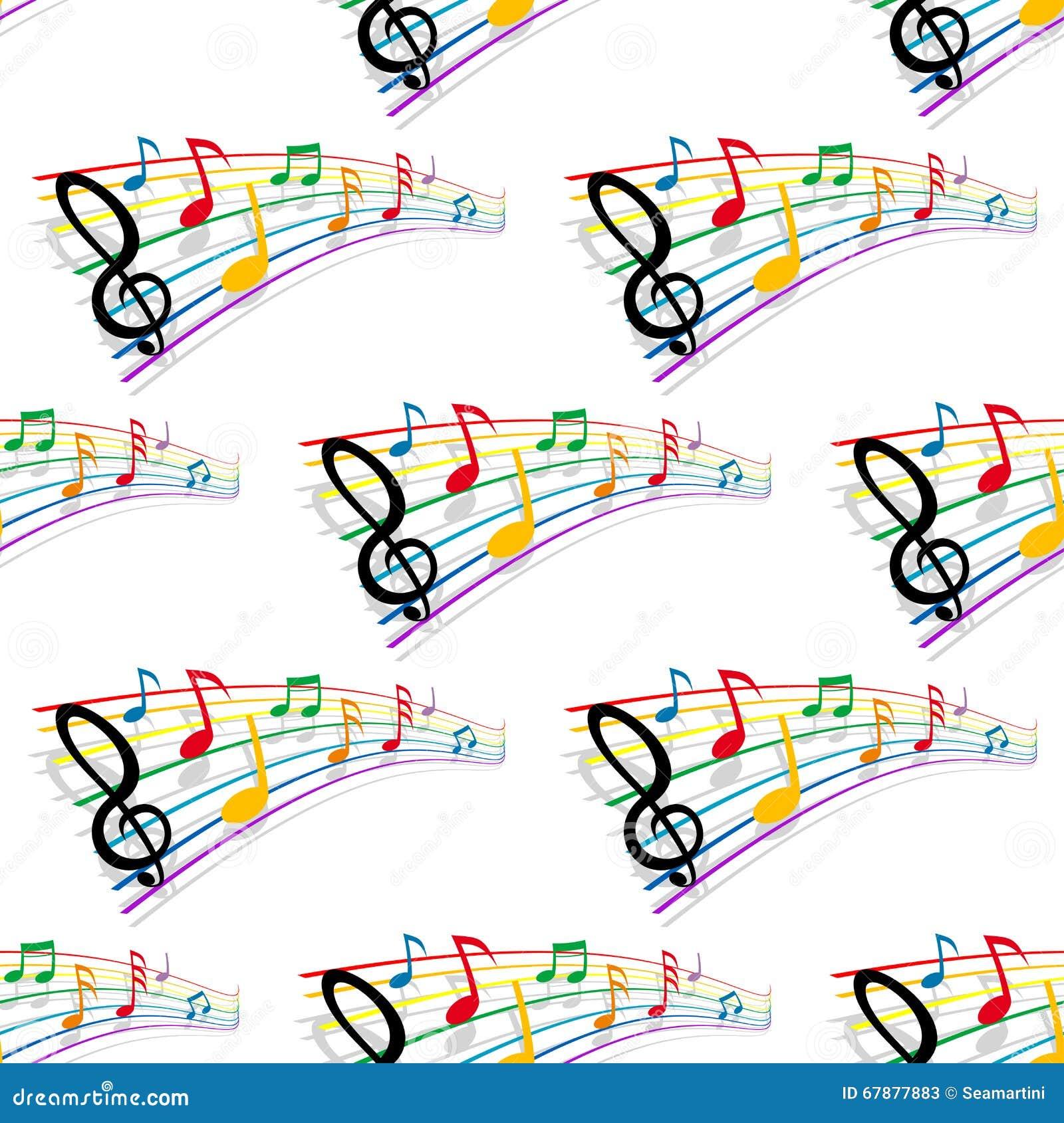 Άνευ ραφής σχέδιο των μουσικών νοτών