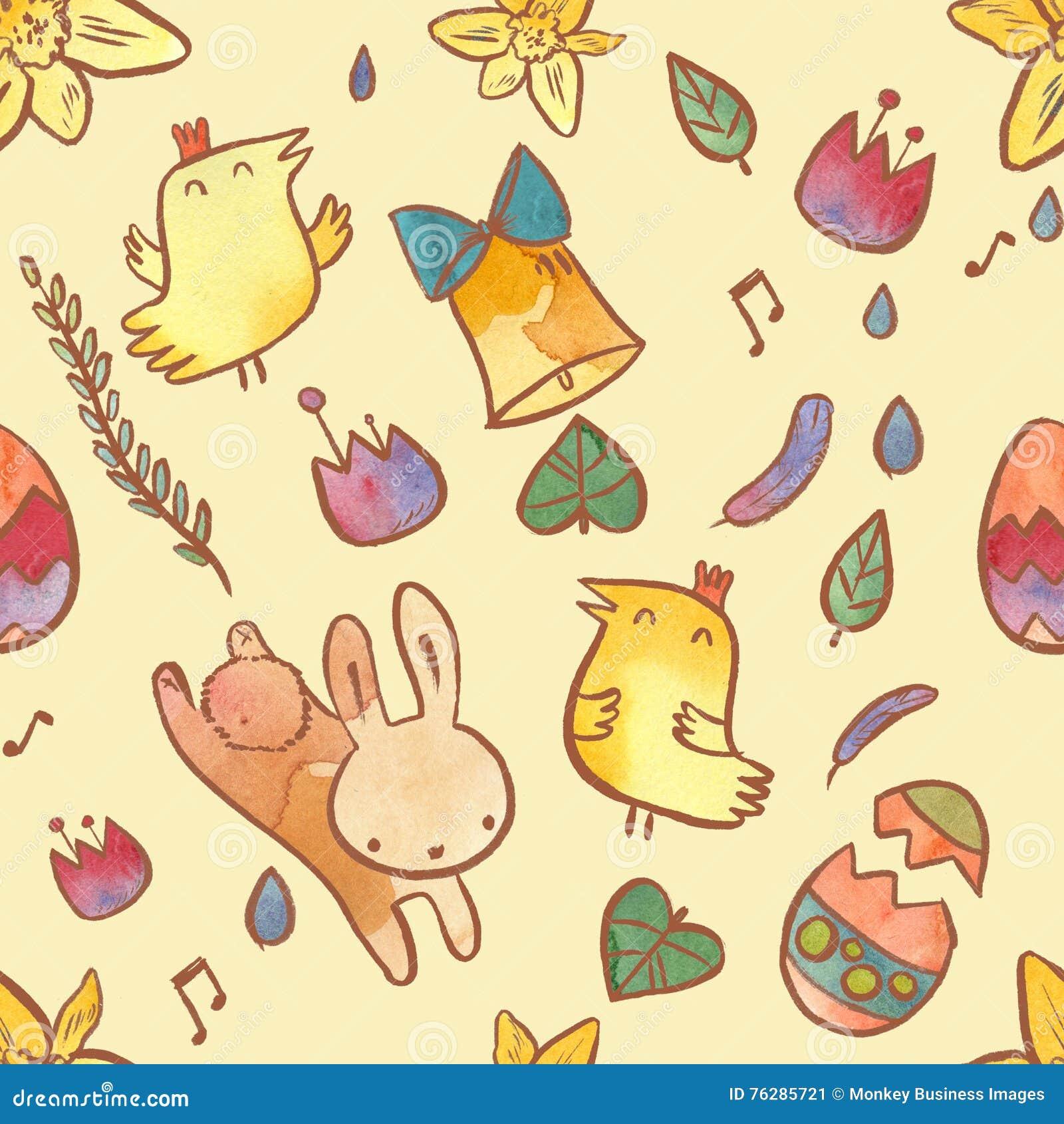 Άνευ ραφής σχέδιο Watercolor στο θέμα Πάσχας Υπόβαθρο Πάσχας με το λαγουδάκι, τους νεοσσούς, τα αυγά και τα λουλούδια