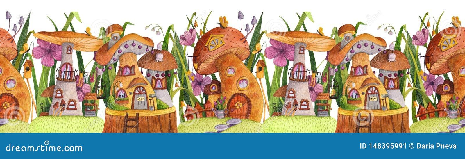 Άνευ ραφής σύνορα Οδός των σπιτιών μανιταριών με τη χλόη, λουλούδια, πεταλούδα, να τοποθετηθεί κιβώτιο, φράκτης, έμβλημα και καλά