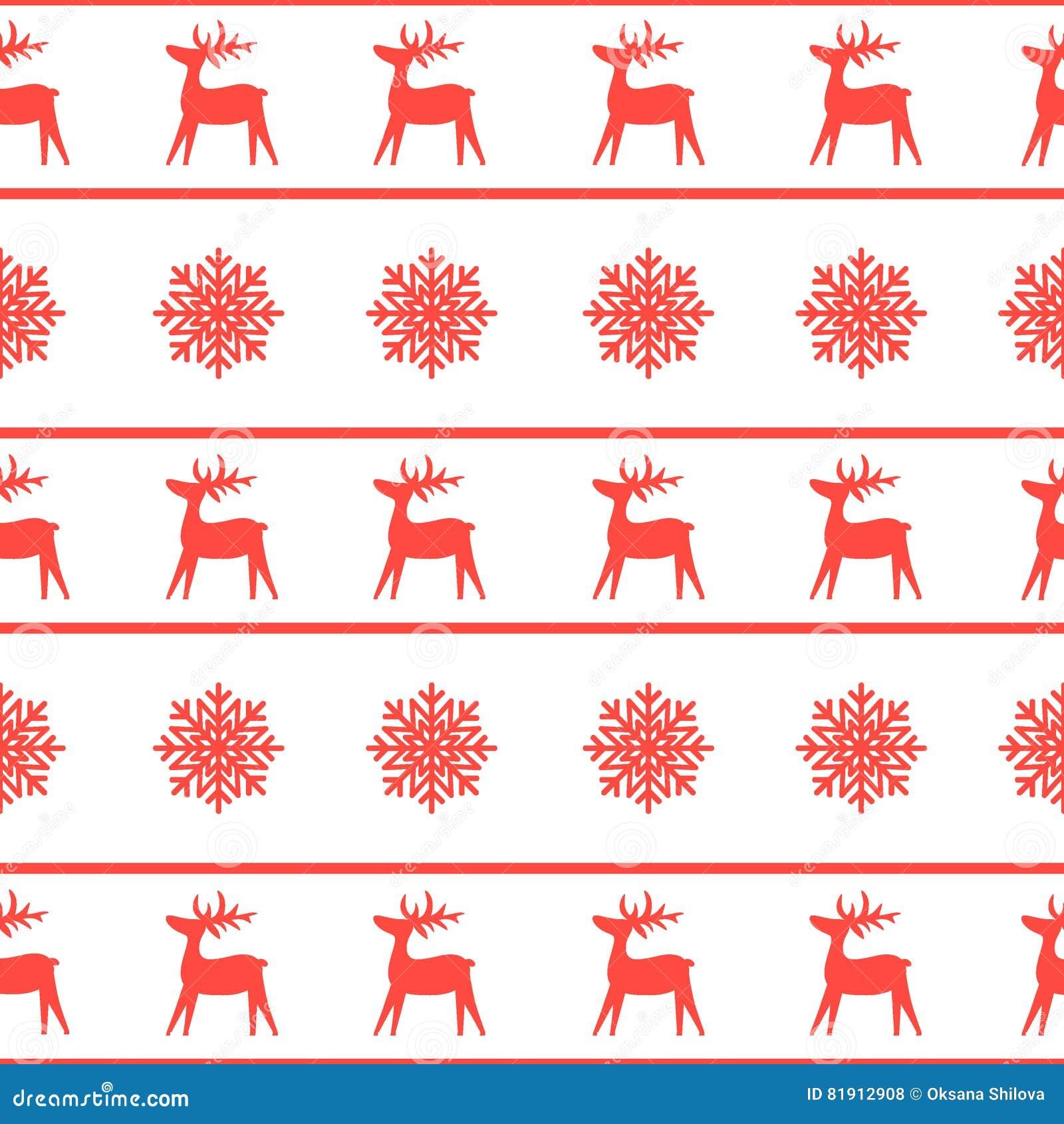 Άνευ ραφής σύσταση Χριστουγέννων με τον τάρανδο και snowflakes