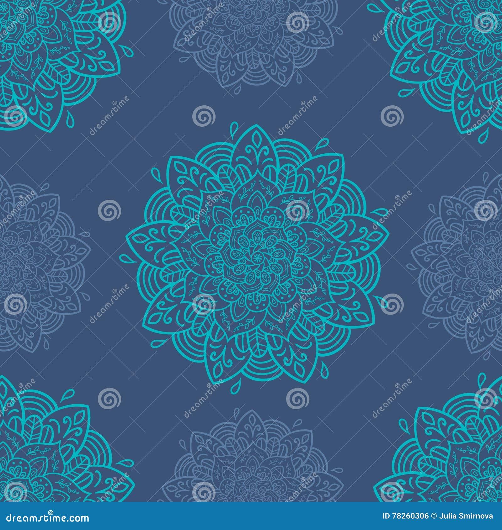 άνευ ραφής τόνοι προτύπων mandala φύλλων απεικόνισης λουλουδιών πράσινοι