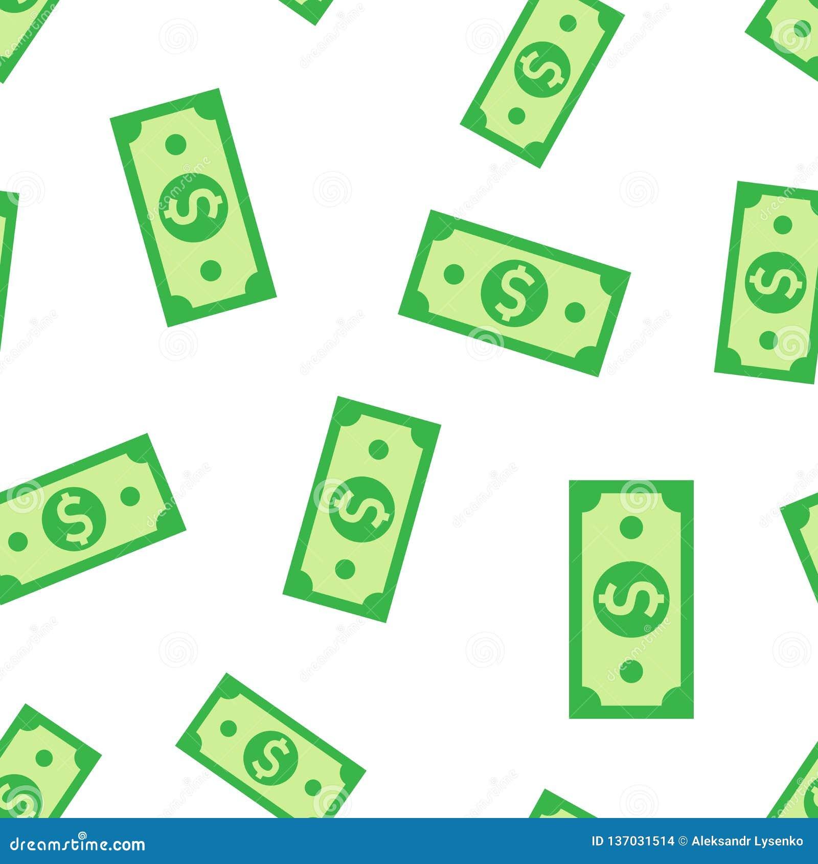 Άνευ ραφής υπόβαθρο σχεδίων εικονιδίων τραπεζογραμματίων νομίσματος δολαρίων Διανυσματική απεικόνιση μετρητών δολαρίων Σχέδιο συμ
