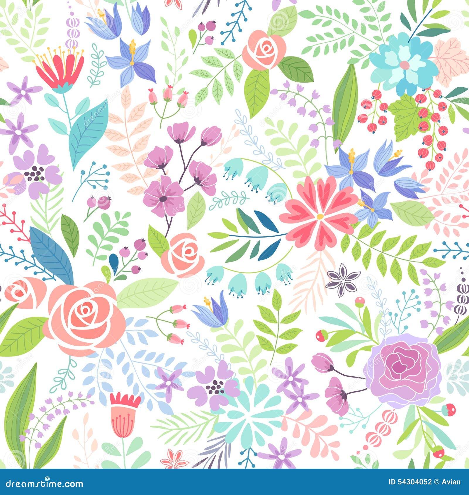 Άνευ ραφής Floral ζωηρόχρωμο συρμένο χέρι σχέδιο