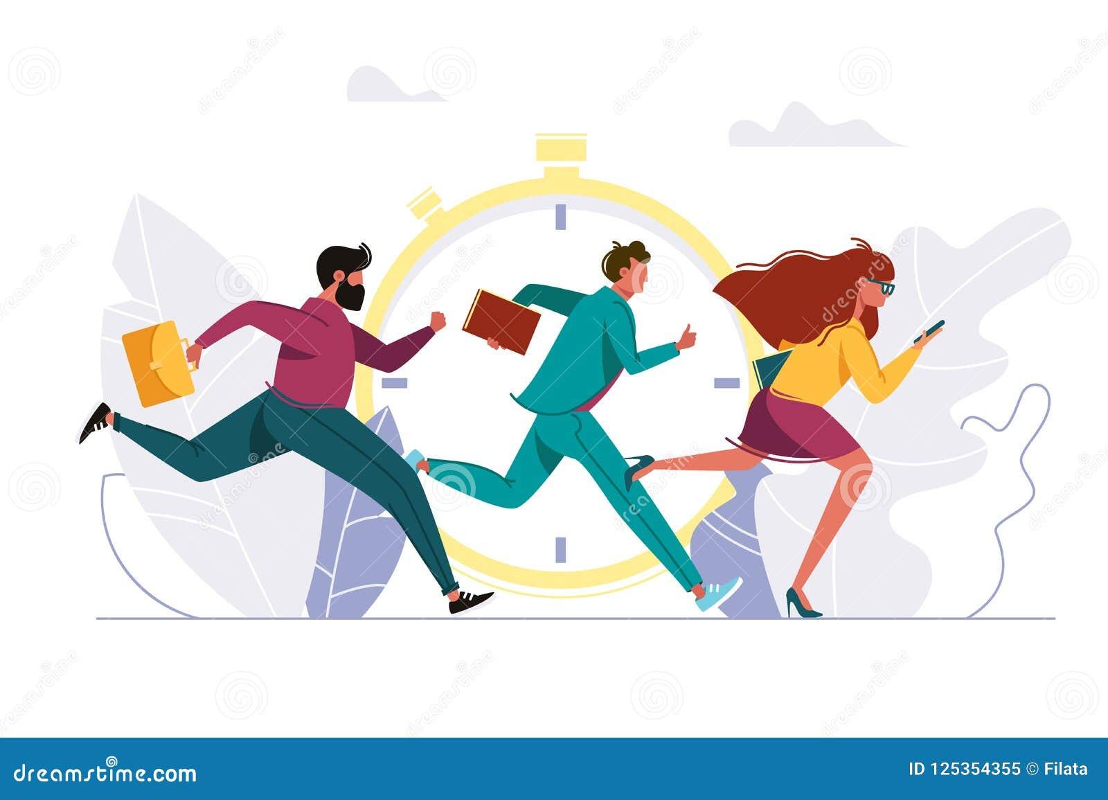 Άνθρωποι που ορμούν στην εργασία, τρέχοντας πρόσωπο