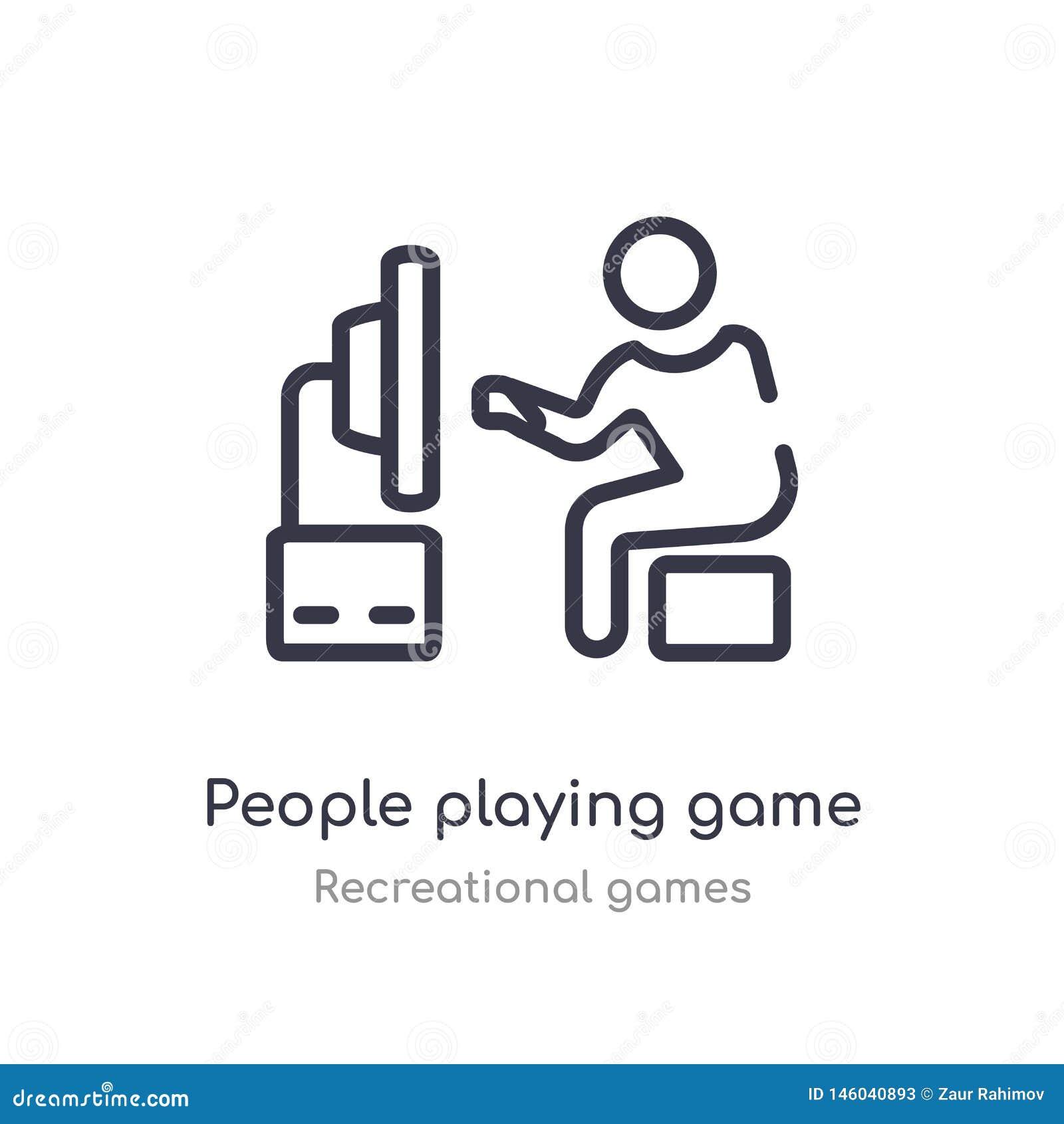 άνθρωποι που παίζουν το εικονίδιο περιλήψεων παιχνιδιών απομονωμένη διανυσματική απεικόνιση γραμμών από την ψυχαγωγική συλλογή πα
