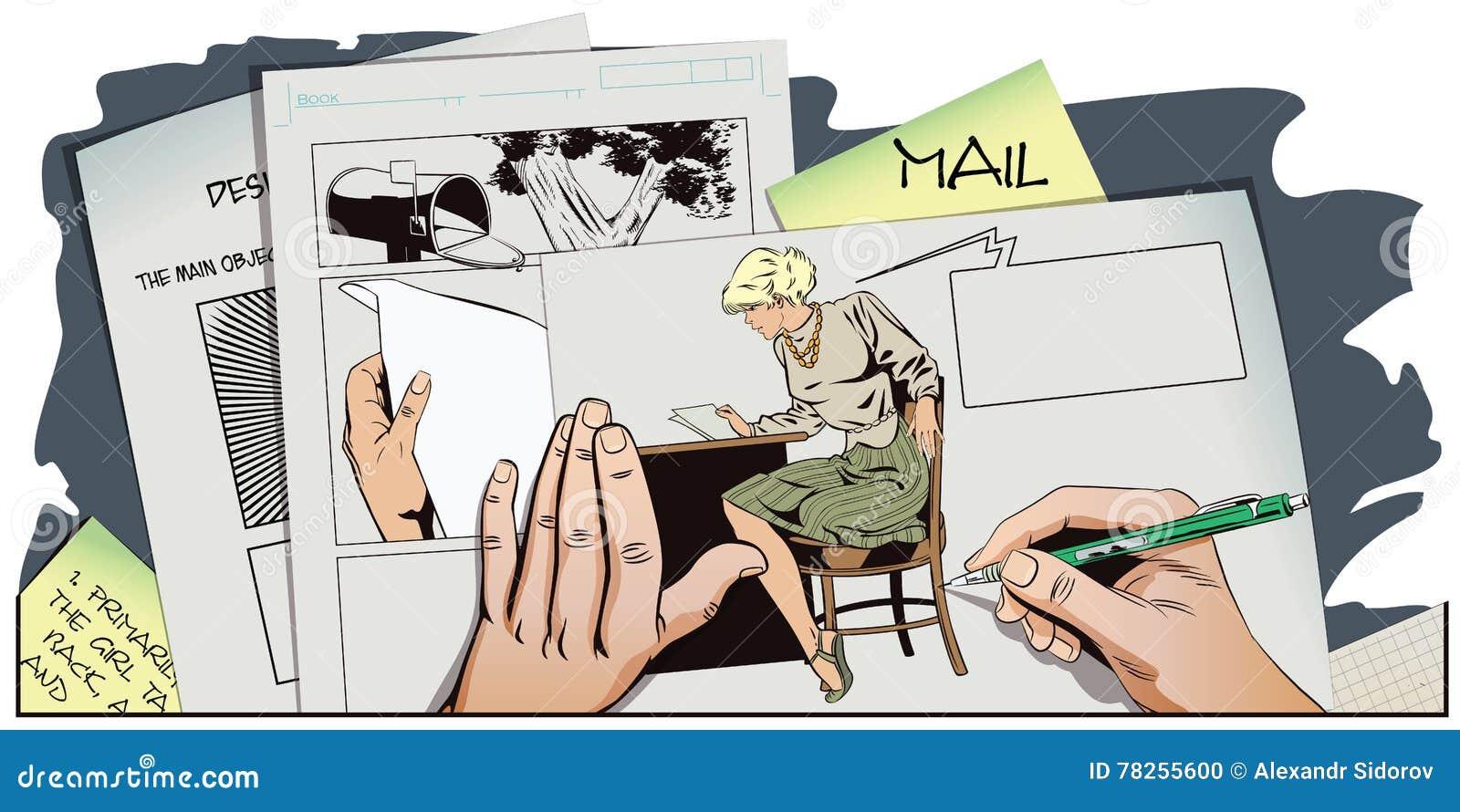 Άνθρωποι στο αναδρομικό ύφος Το κορίτσι διαβάζει την επιστολή
