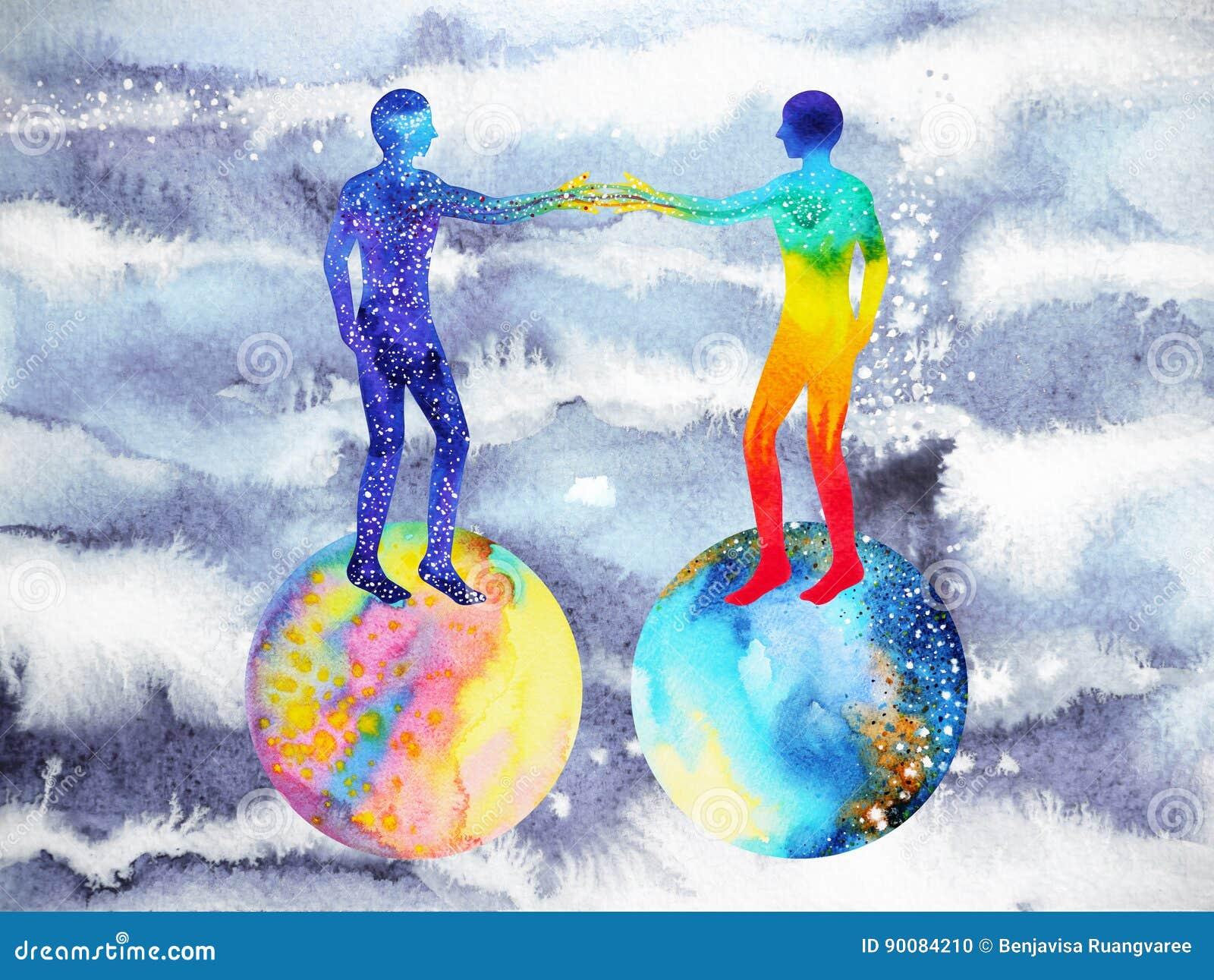 Άνθρωπος και δύναμη κόσμου, ζωγραφική watercolor, reiki chakra, παγκόσμιος κόσμος εγκεφάλου μέσα στο μυαλό σας