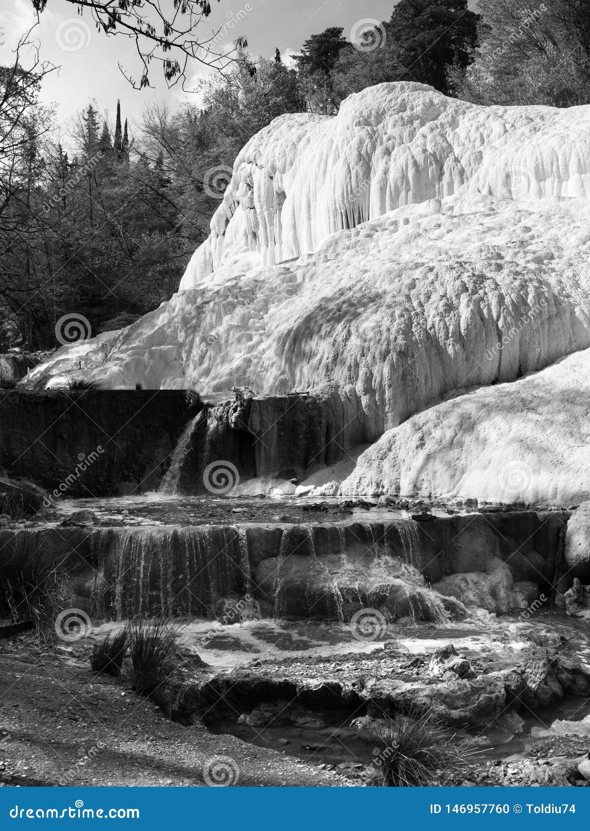"""Άνοιξη του θερμικού νερού Bagni SAN Filippo σε Val δ """"Orcia, Τοσκάνη, Ιταλία"""