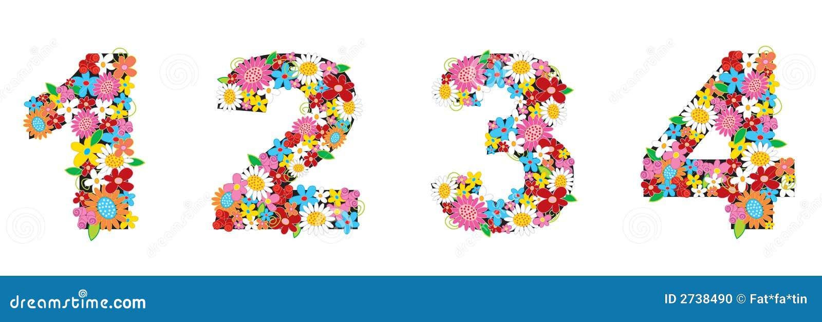 άνοιξη 1234 αριθμών λουλουδ&