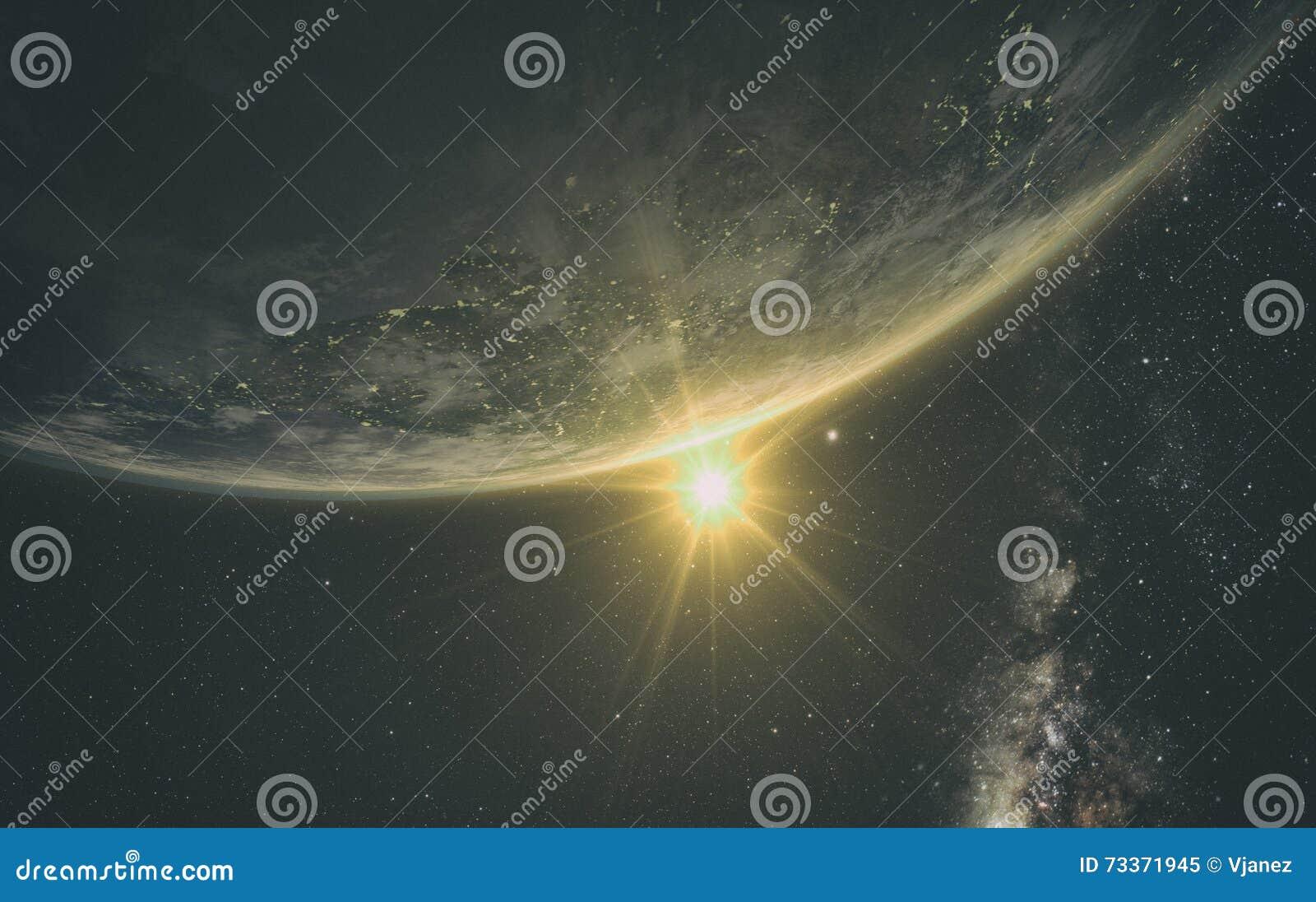 Άποψη ανατολής της γης από το διάστημα