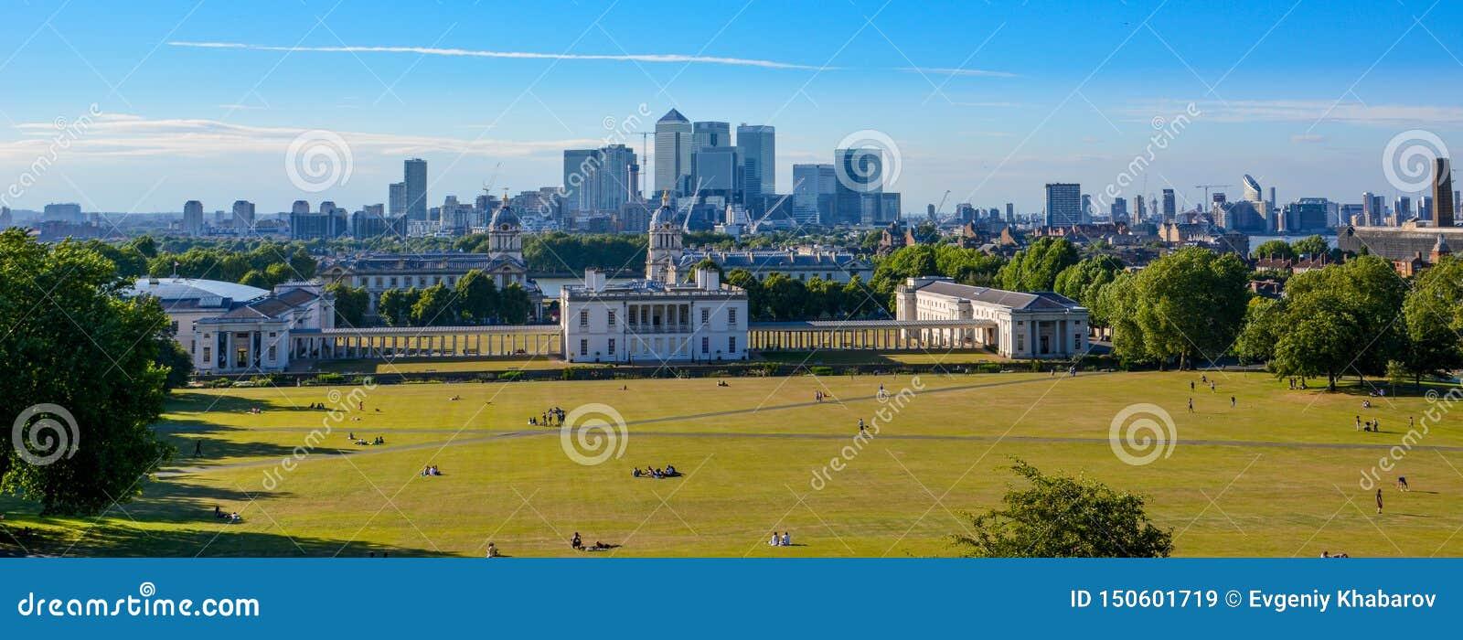 Άποψη εικονικής παράστασης πόλης πανοράματος από το Γκρήνουιτς, Λονδίνο, Αγγλία, UK