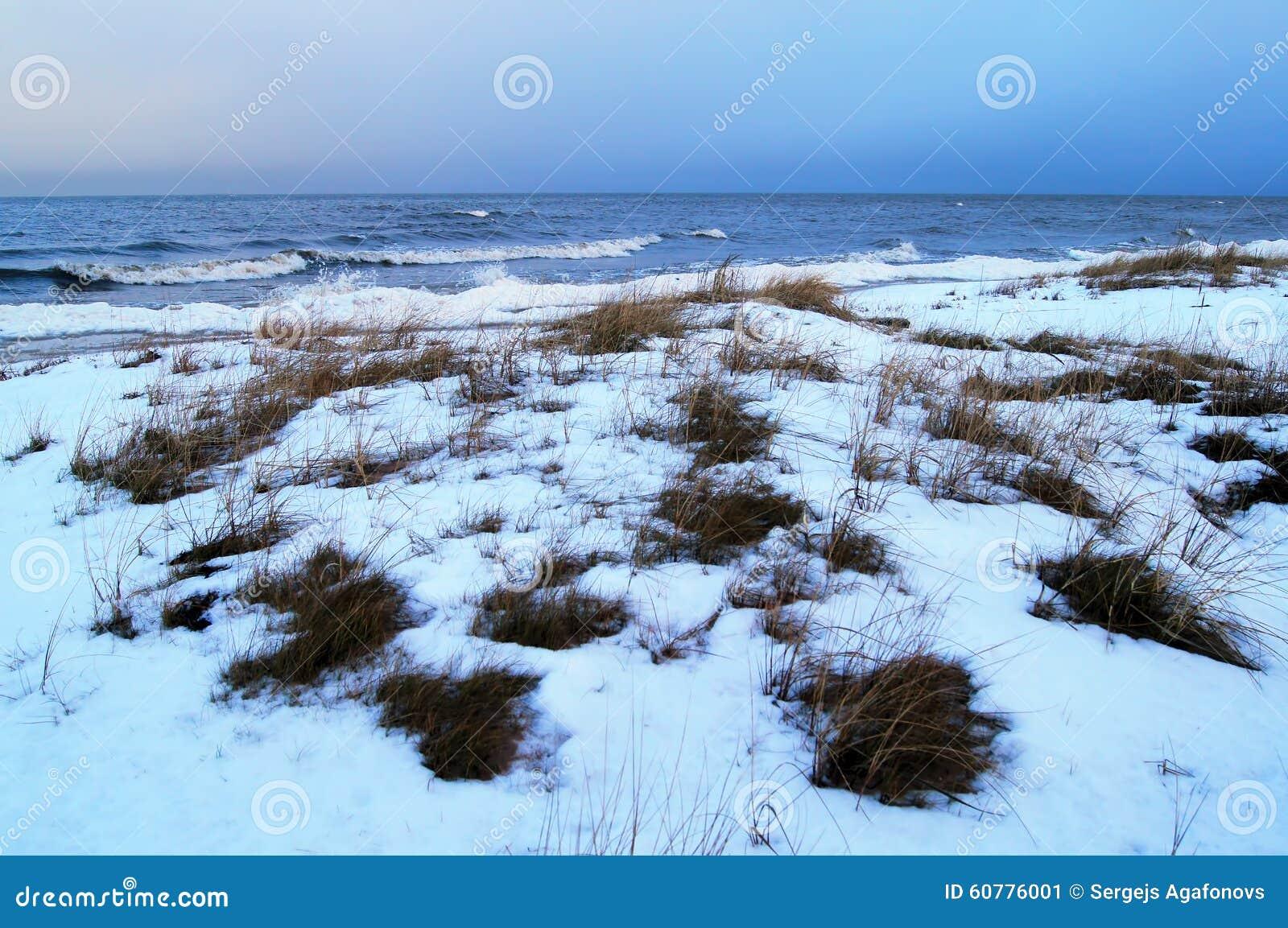 Άποψη θάλασσας χειμερινού λυκόφατος