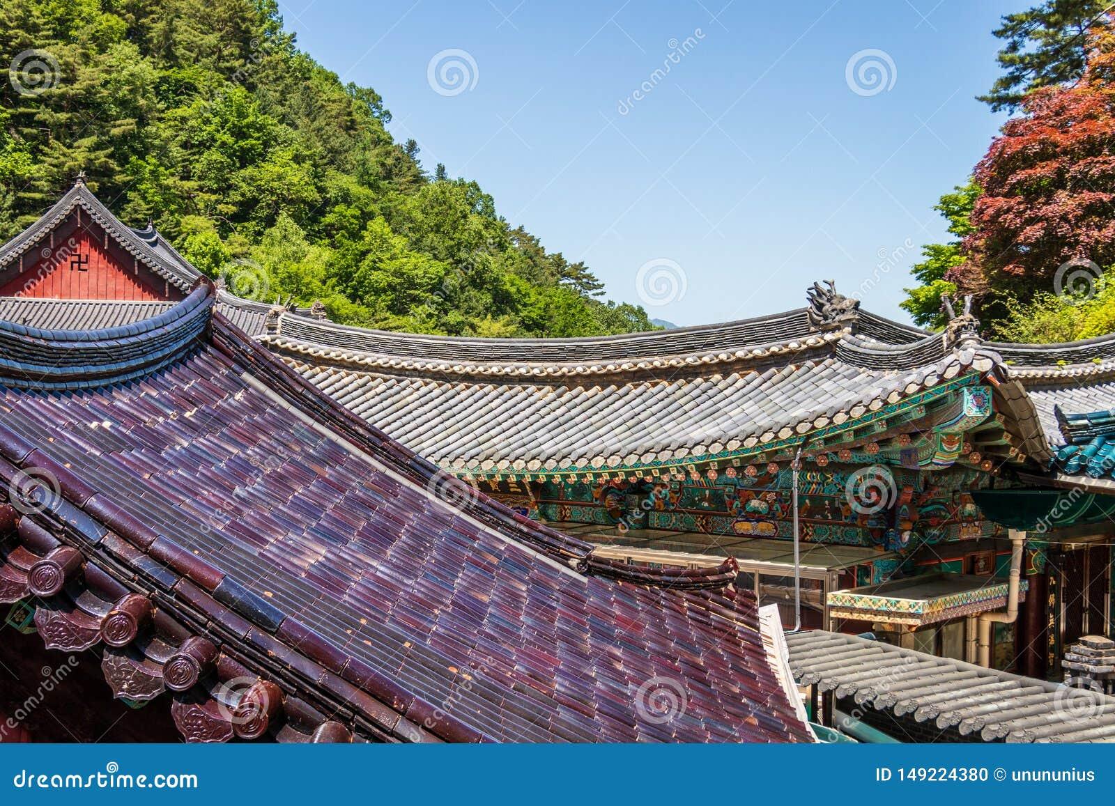 Άποψη λεπτομέρειας σχετικά με τη στέγη των κτηρίων μέσα στον κορεατικό βουδιστικό ναό σύνθετο Guinsa Guinsa, περιοχή Danyang, της